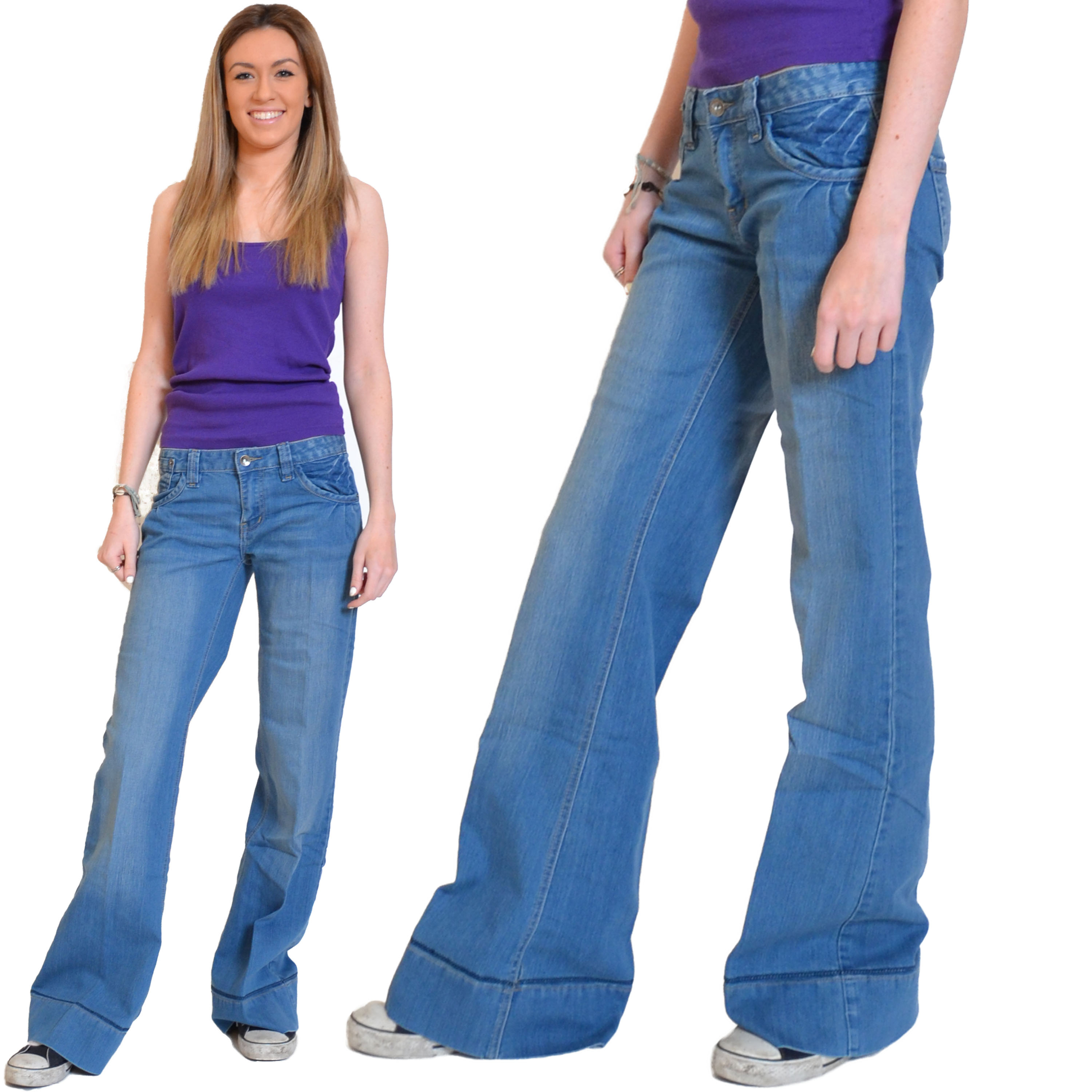 Ladies Womens Blue Faded 60s 70s Wide Flares Bell Bottoms Bootcut ...