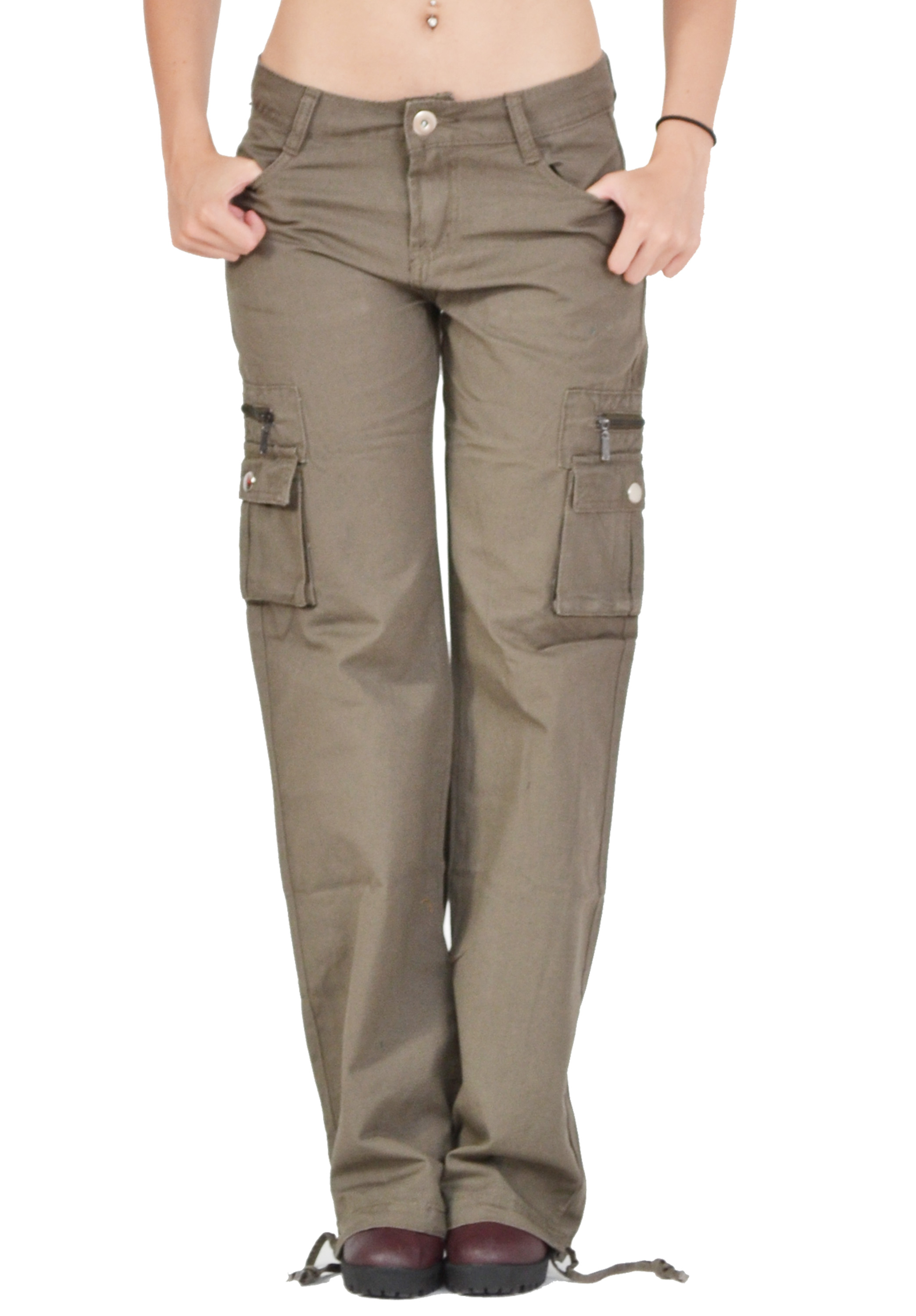 Model Women39s Army Cargo Outdoor Hiking Straight Mid Waist Sports Casual