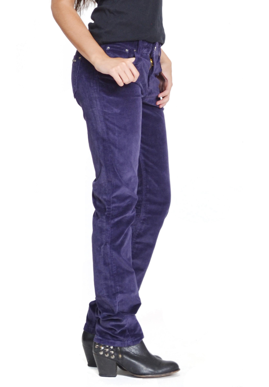 New ladies womens slim skinny stretch cords purple corduroy trousers