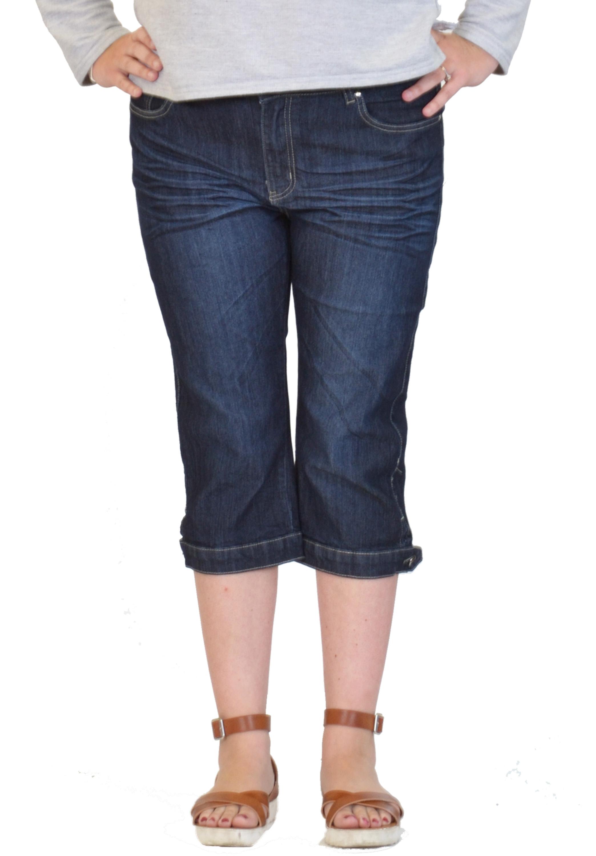 new womens indigo stretch slim long denim shorts cropped 3 4 length capri jeans ebay. Black Bedroom Furniture Sets. Home Design Ideas