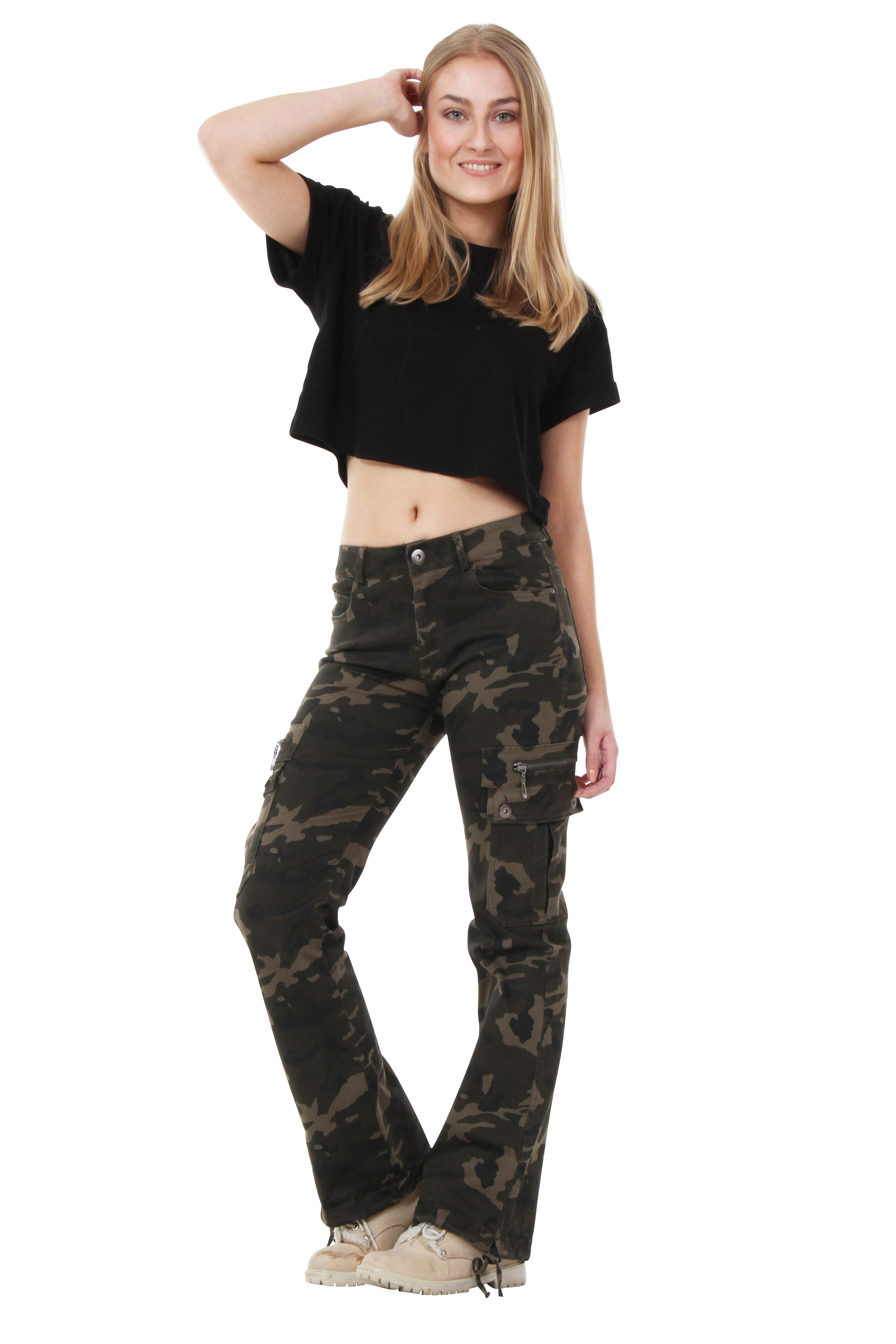 Womens Army Military Green Camouflage Wide Leg Cargo Pants ...