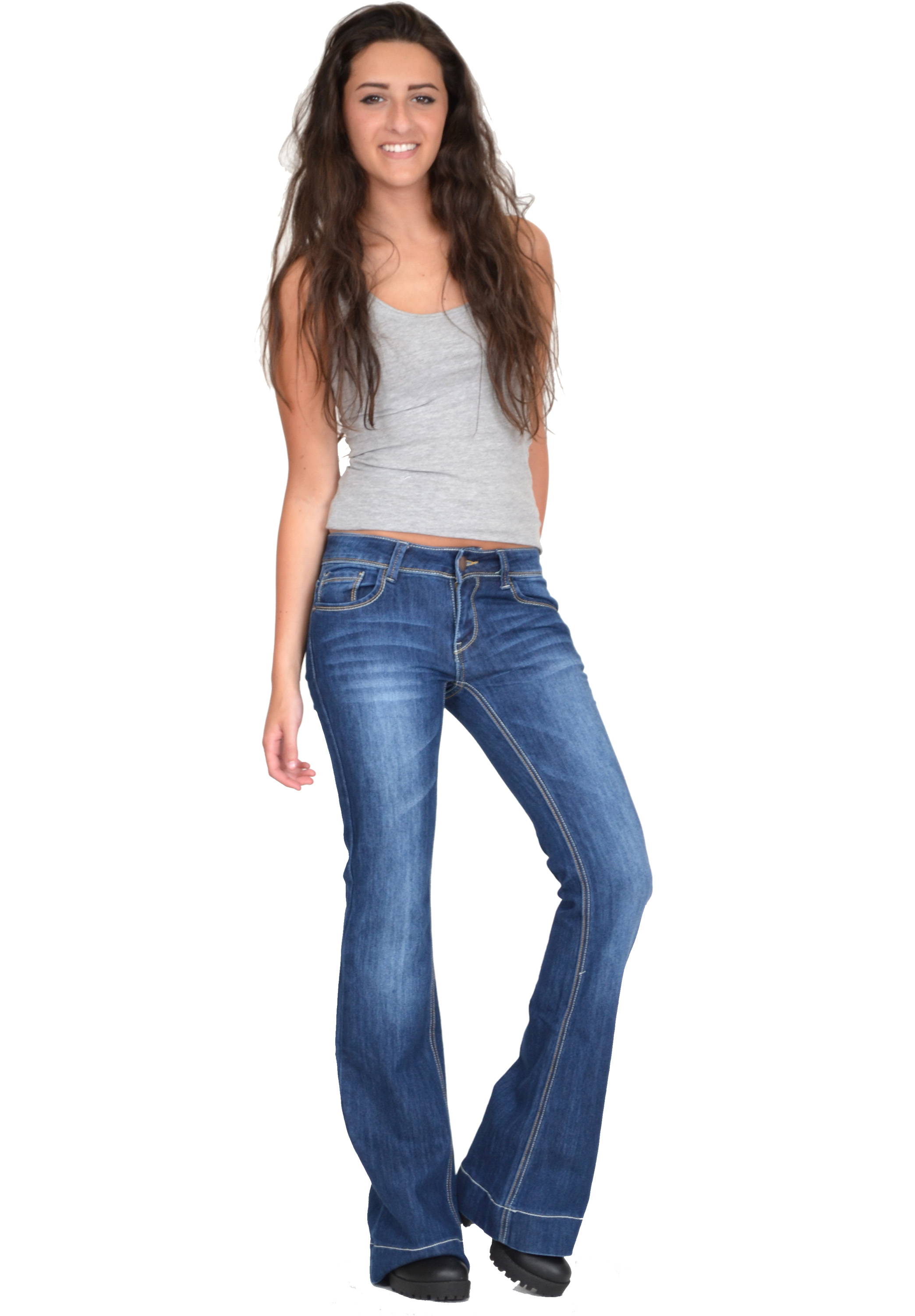 New Womens Low Rise Dark Blue Faded Bootcut Flared Stretch ...