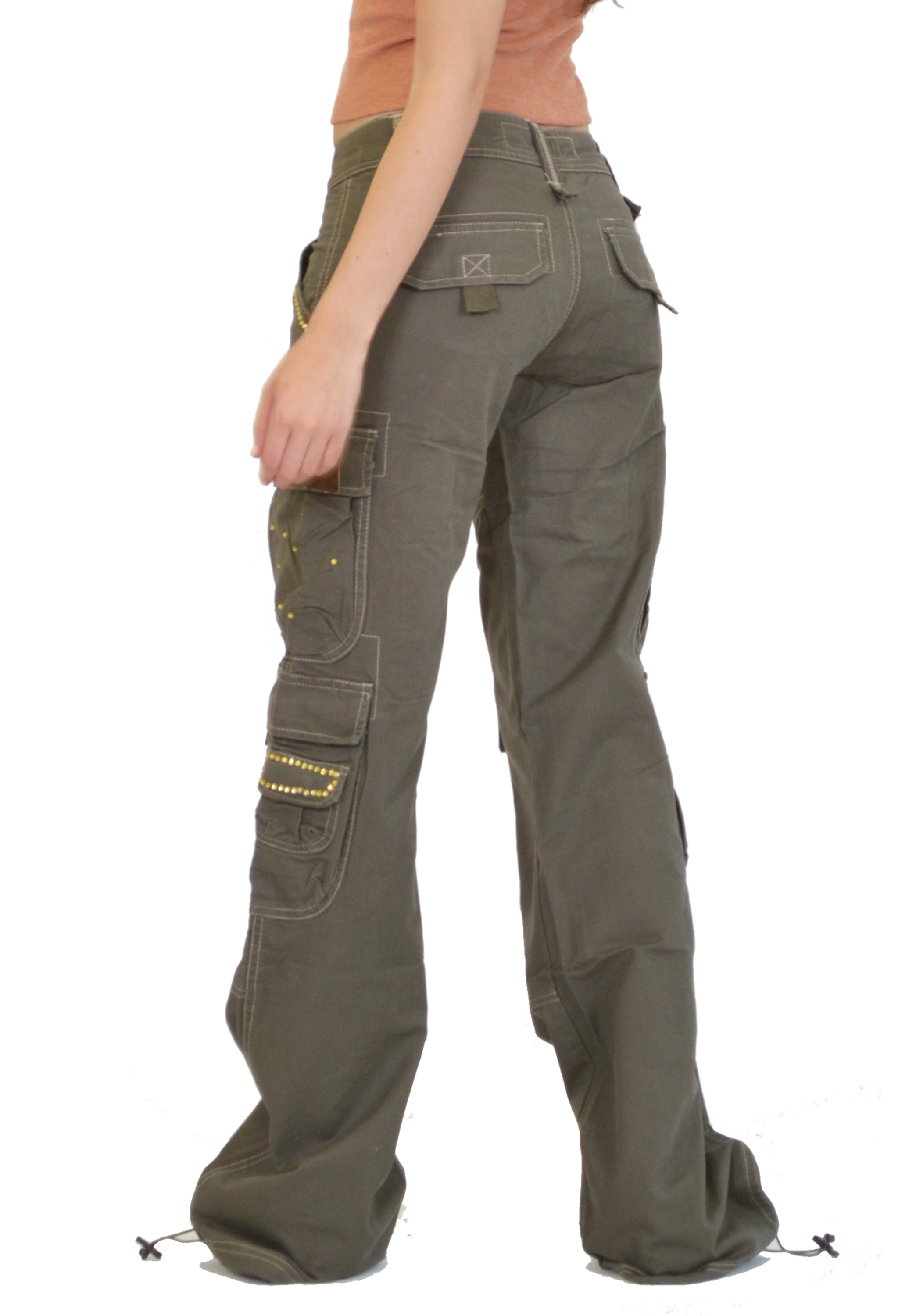 Elegant Womens Army Green Baggy Loose Cargo Pants Wide Boyfriend Combat