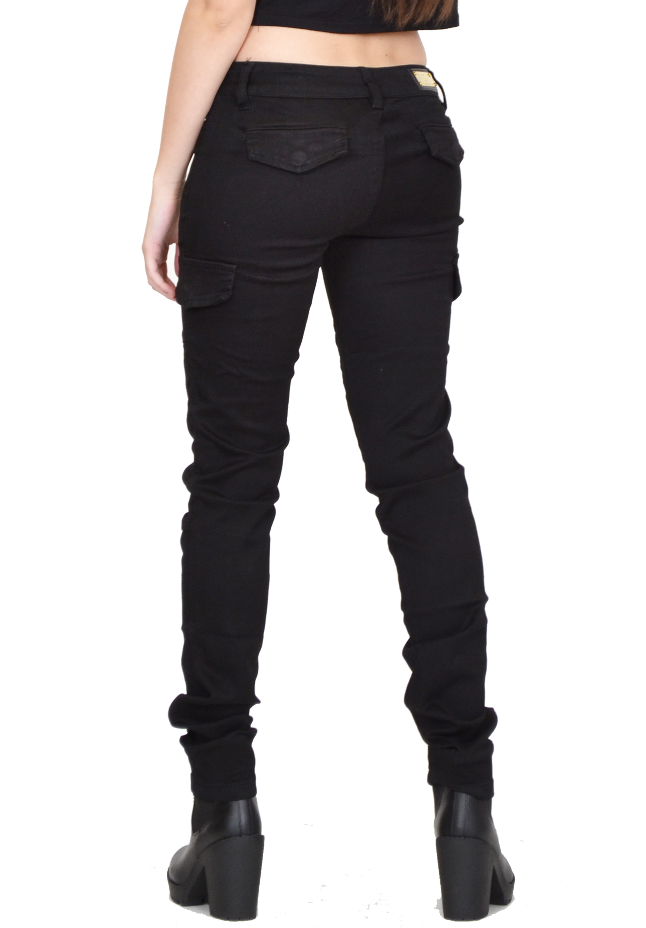 Simple New Ladies Womens Black Slim Fitted Stretch Combat Pants Skinny Cargo
