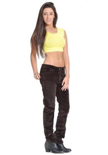New Ladies Womens Slim Skinny Stretch Cords Dark Brown Corduroy ...