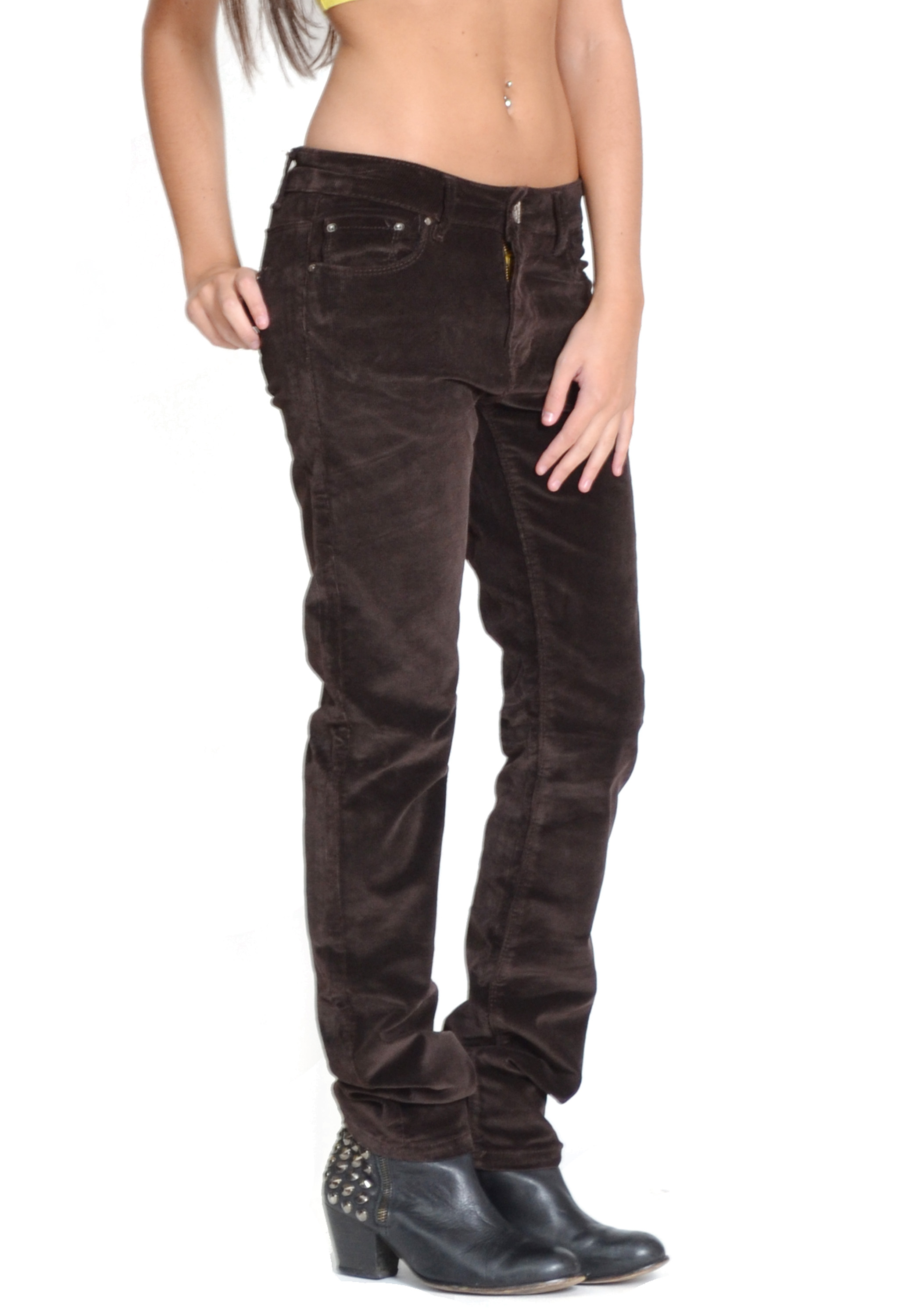 New Ladies Womens Slim Skinny Stretch Cords Dark Brown Corduroy ...