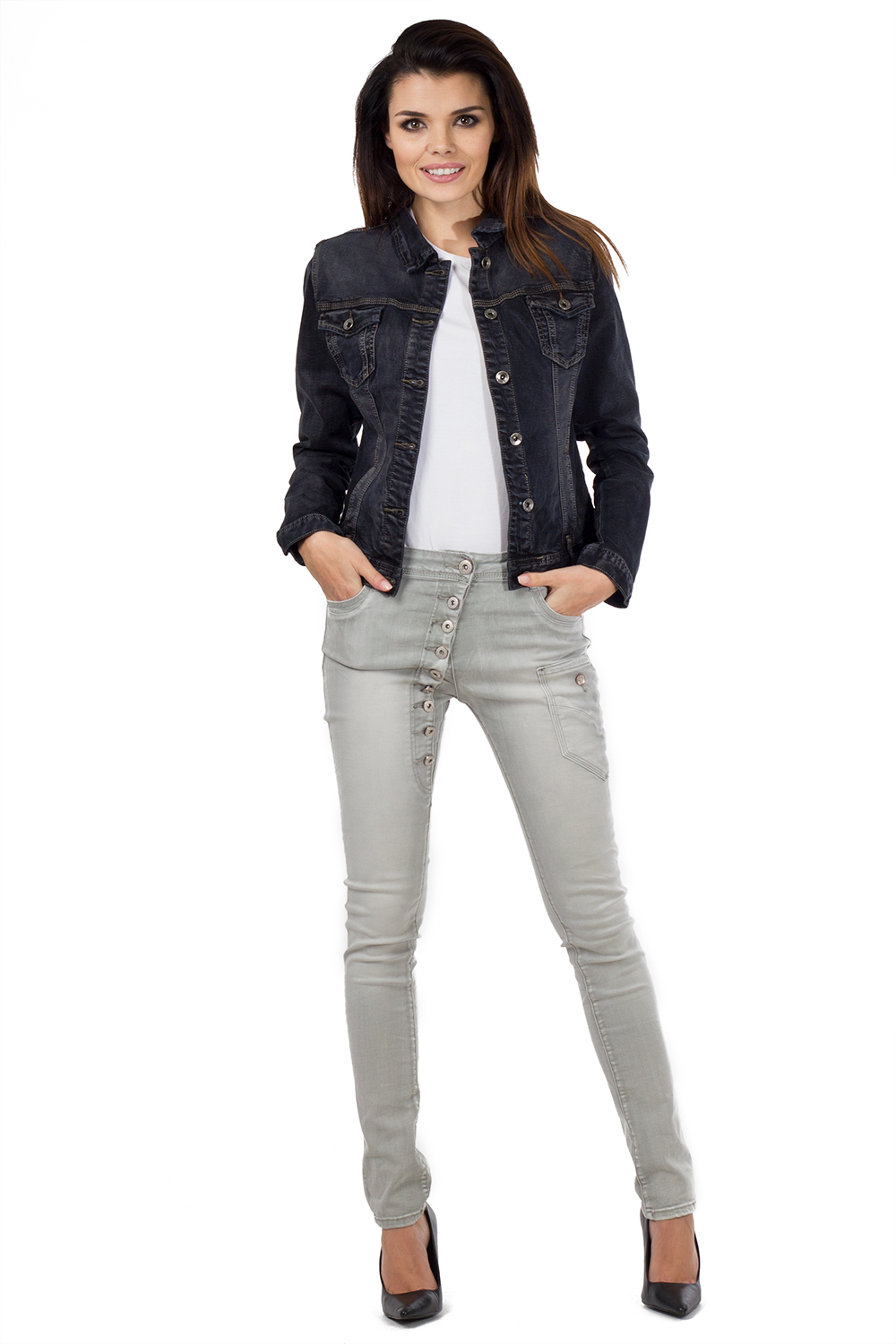 New Ladies Womens Black Faded Fitted Stretch Denim Jacket Jeans