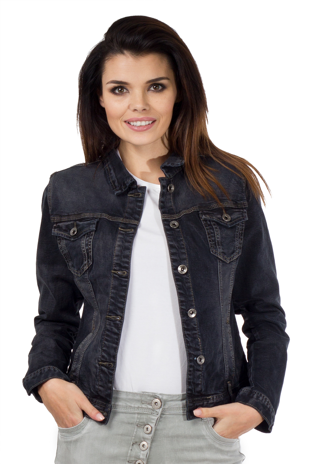 New Ladies Womens Black Faded Fitted Stretch Denim Jacket Jeans ...