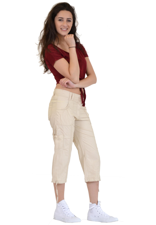 New Ladies Womens Lightweight Cotton Cargo Combat Shorts 3/4 ...