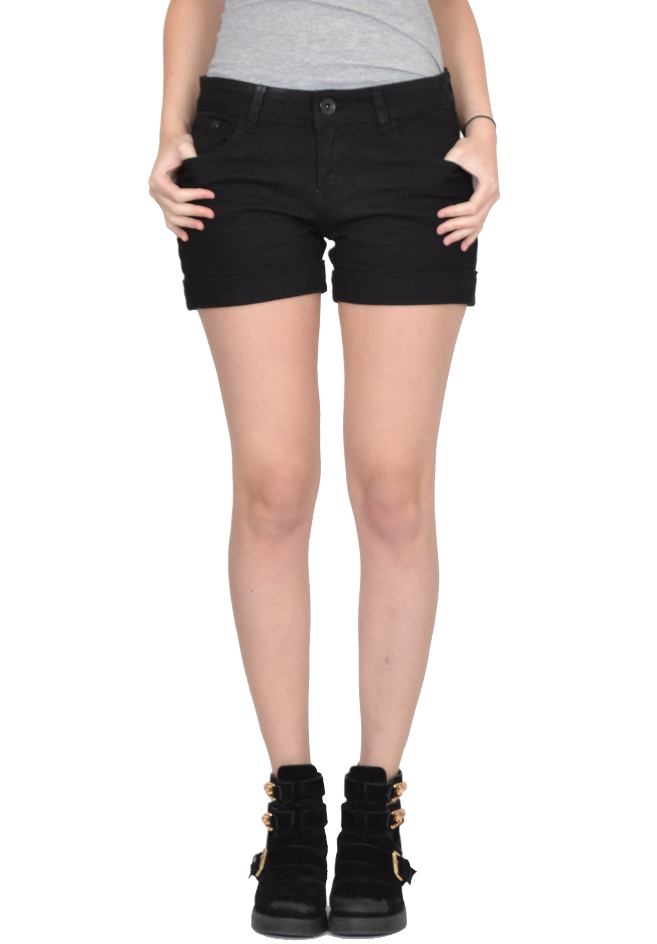 Womens Black Denim Shorts - The Else