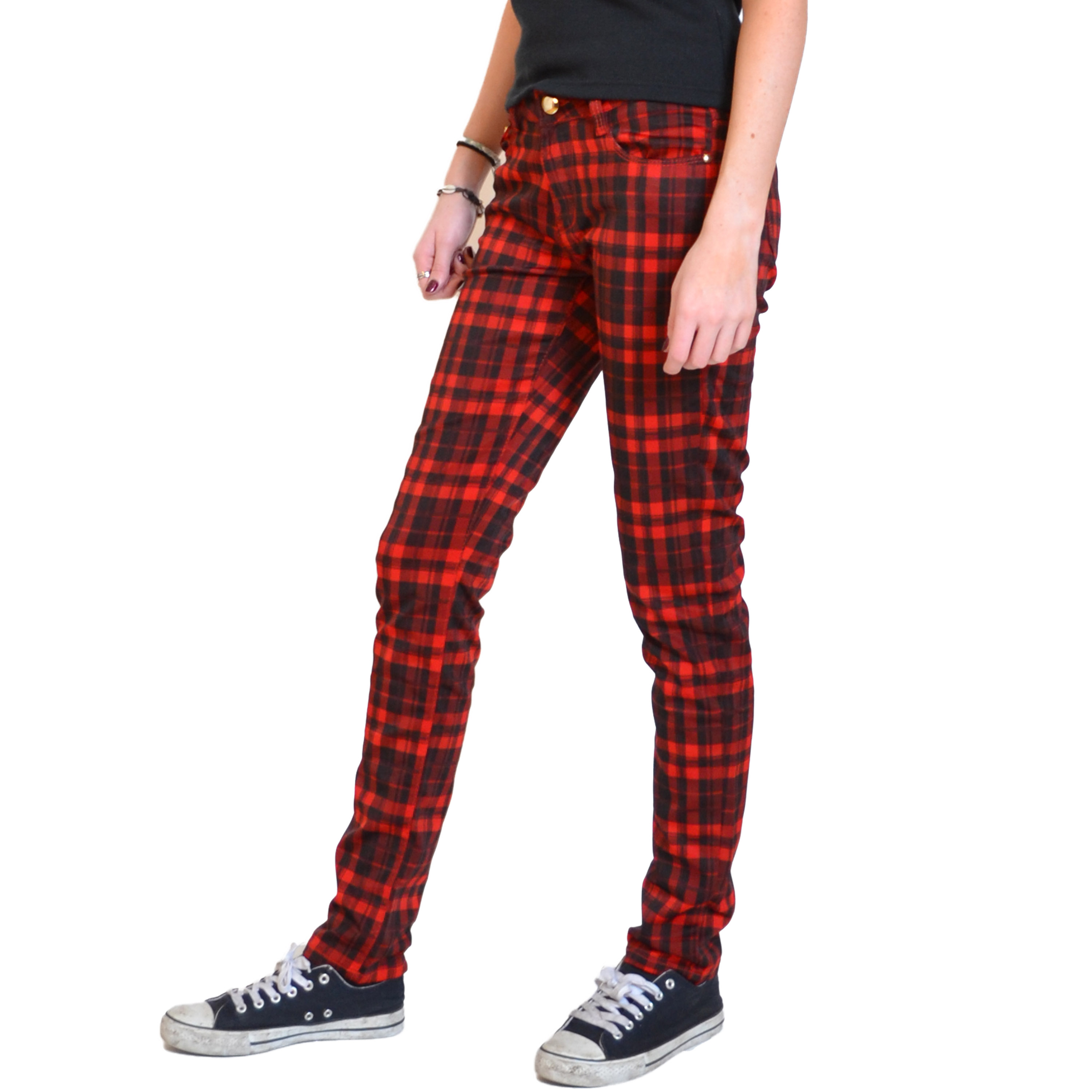 new ladies womens red black tartan check pants red plaid punk trousers jeans. Black Bedroom Furniture Sets. Home Design Ideas