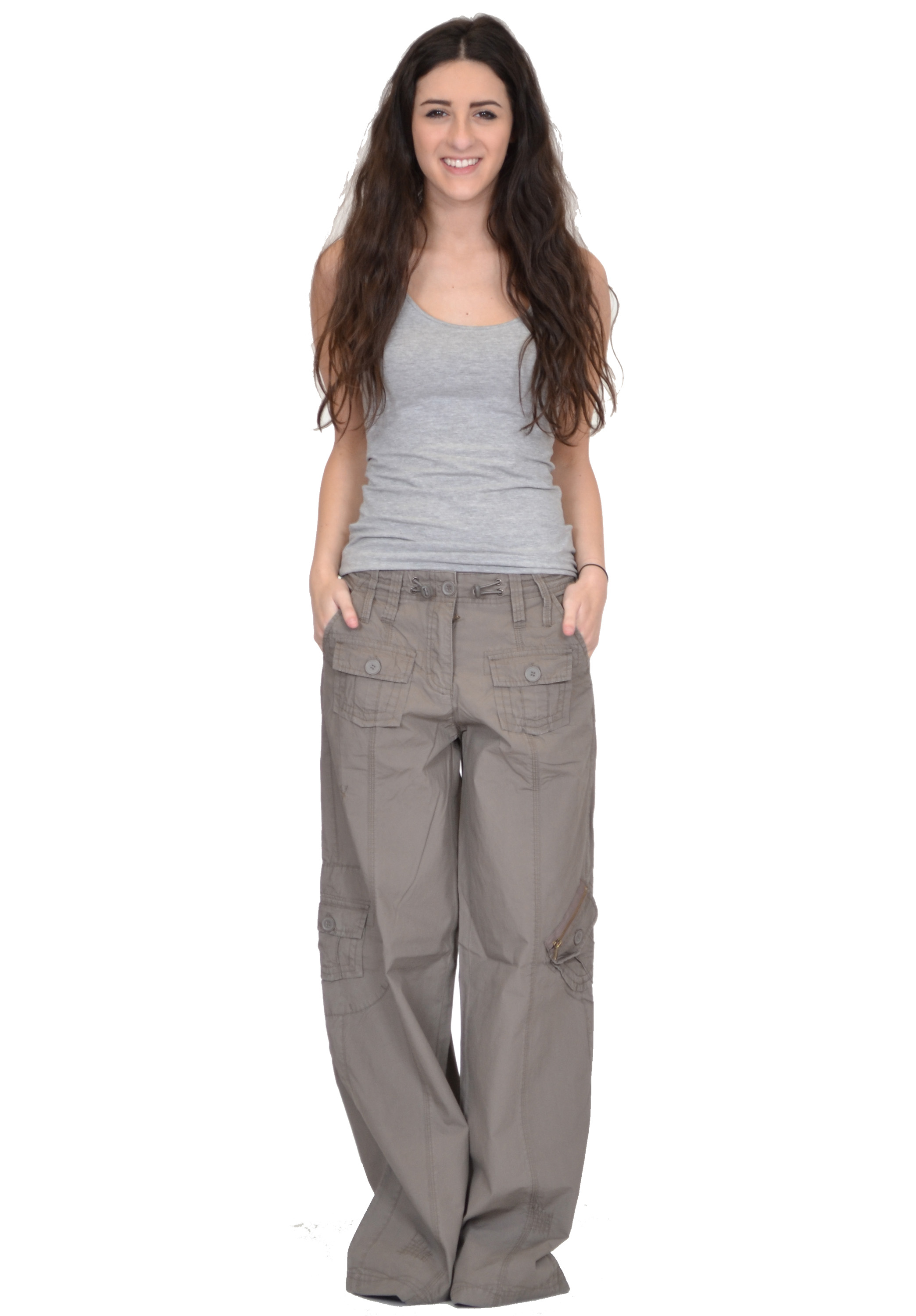 New Ladies Womens Baggy Wide Leg Loose Lightweight Combat Trousers ...