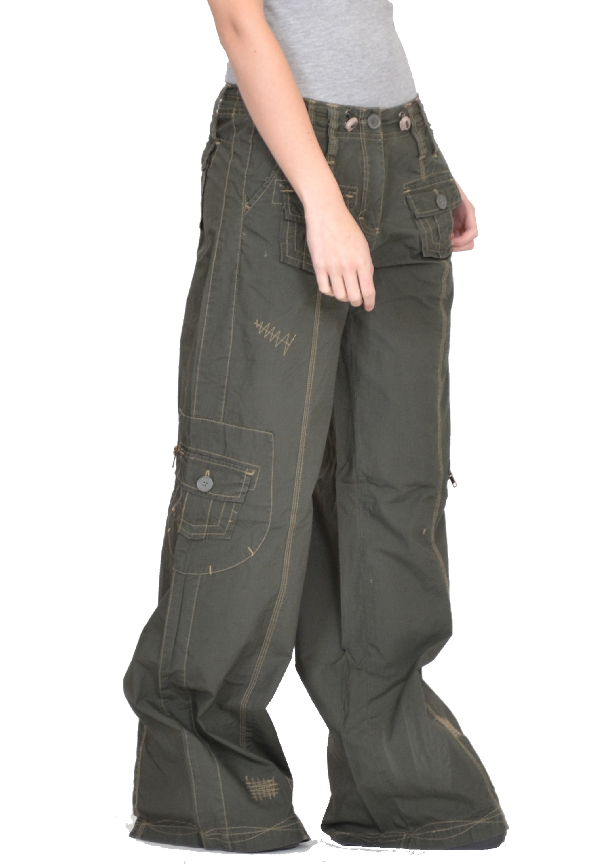 Fantastic  Ladies Khaki Green Brown Wide Leg Combat Trousers Cargo Jeans Pants