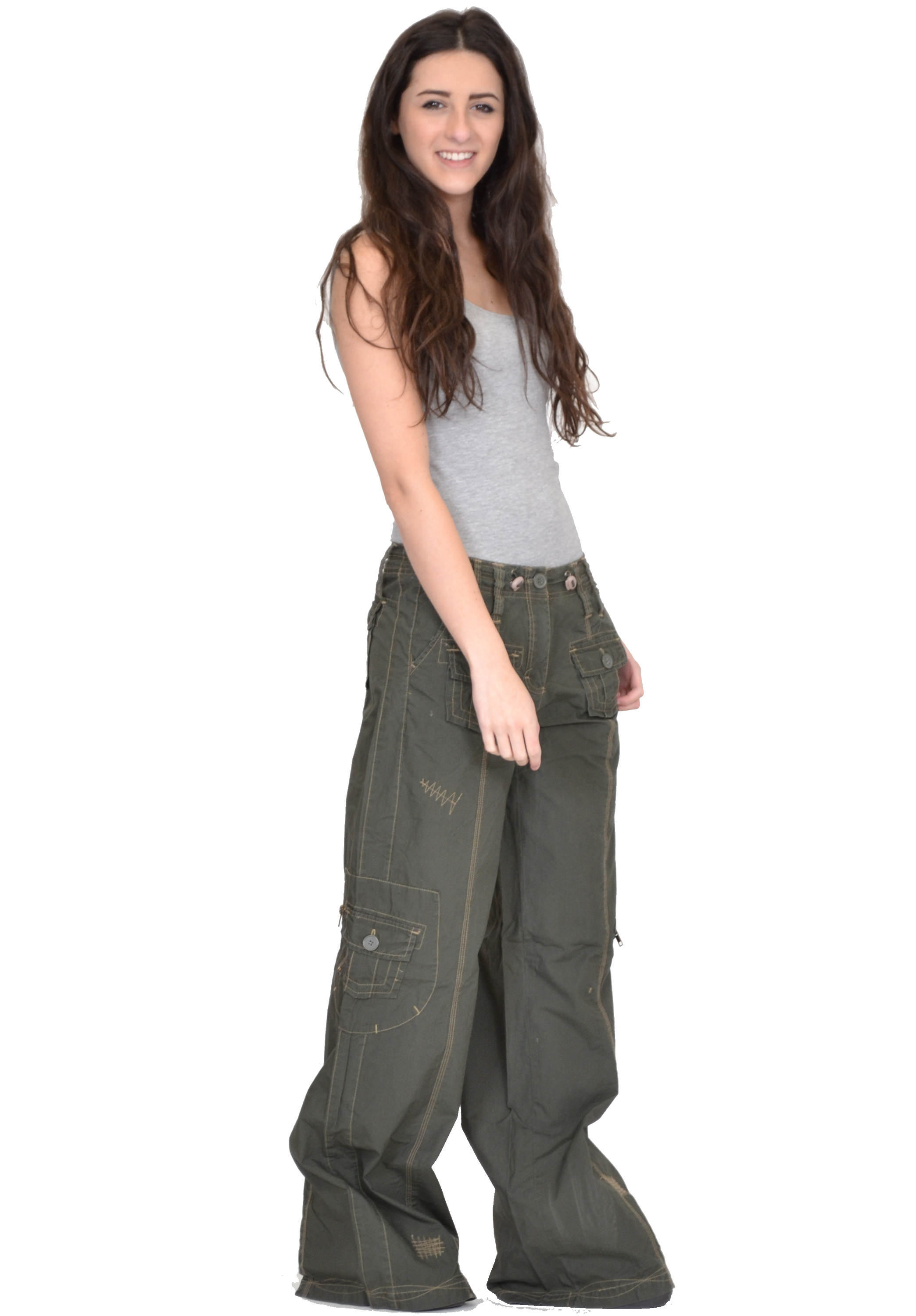 Wonderful New Ladies Womens Baggy Loose Cargo Pants Wide Boyfriend Combat
