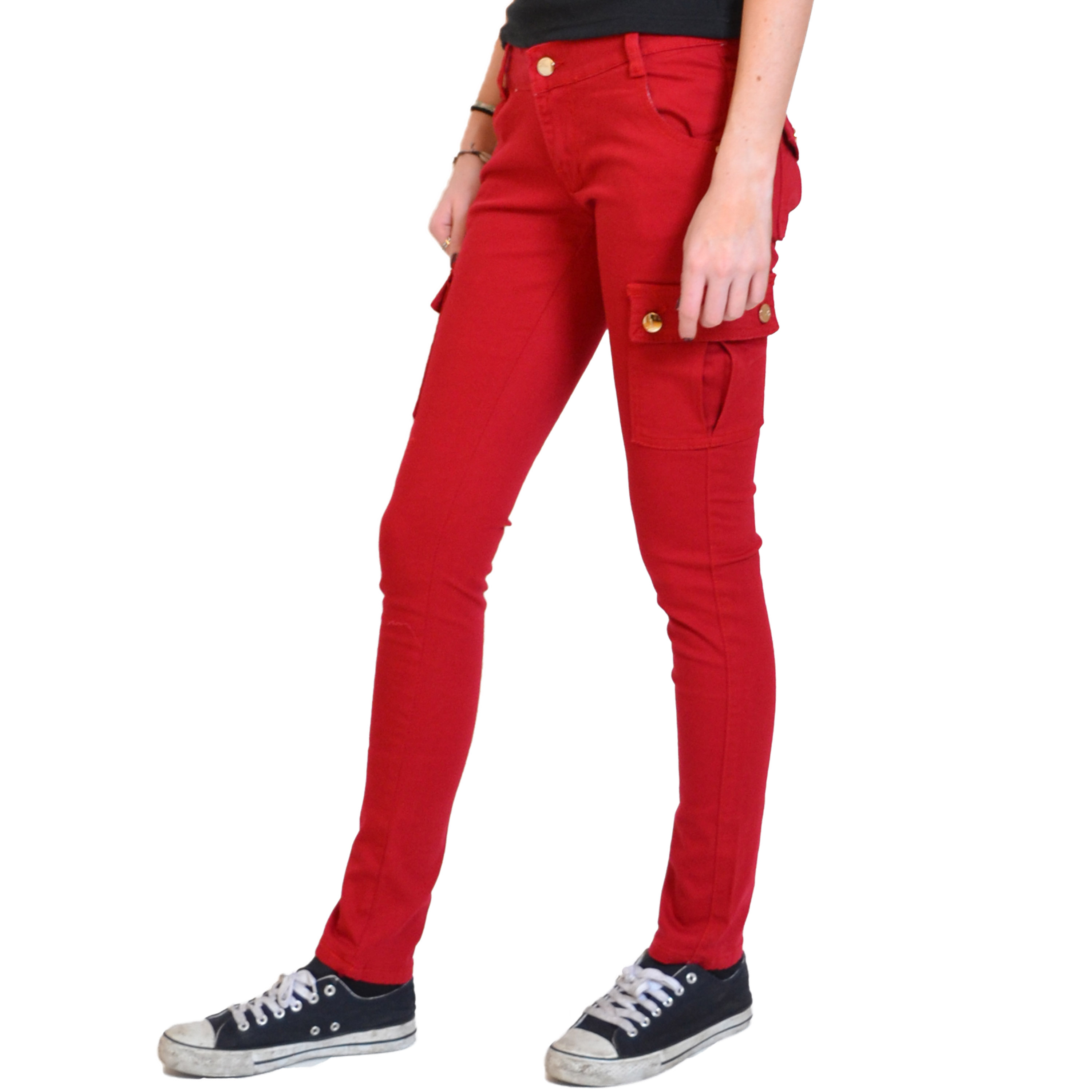 Excellent  Womens Red Slim Skinny Fitted Combat Jeans Trousers Cargo Pants  EBay