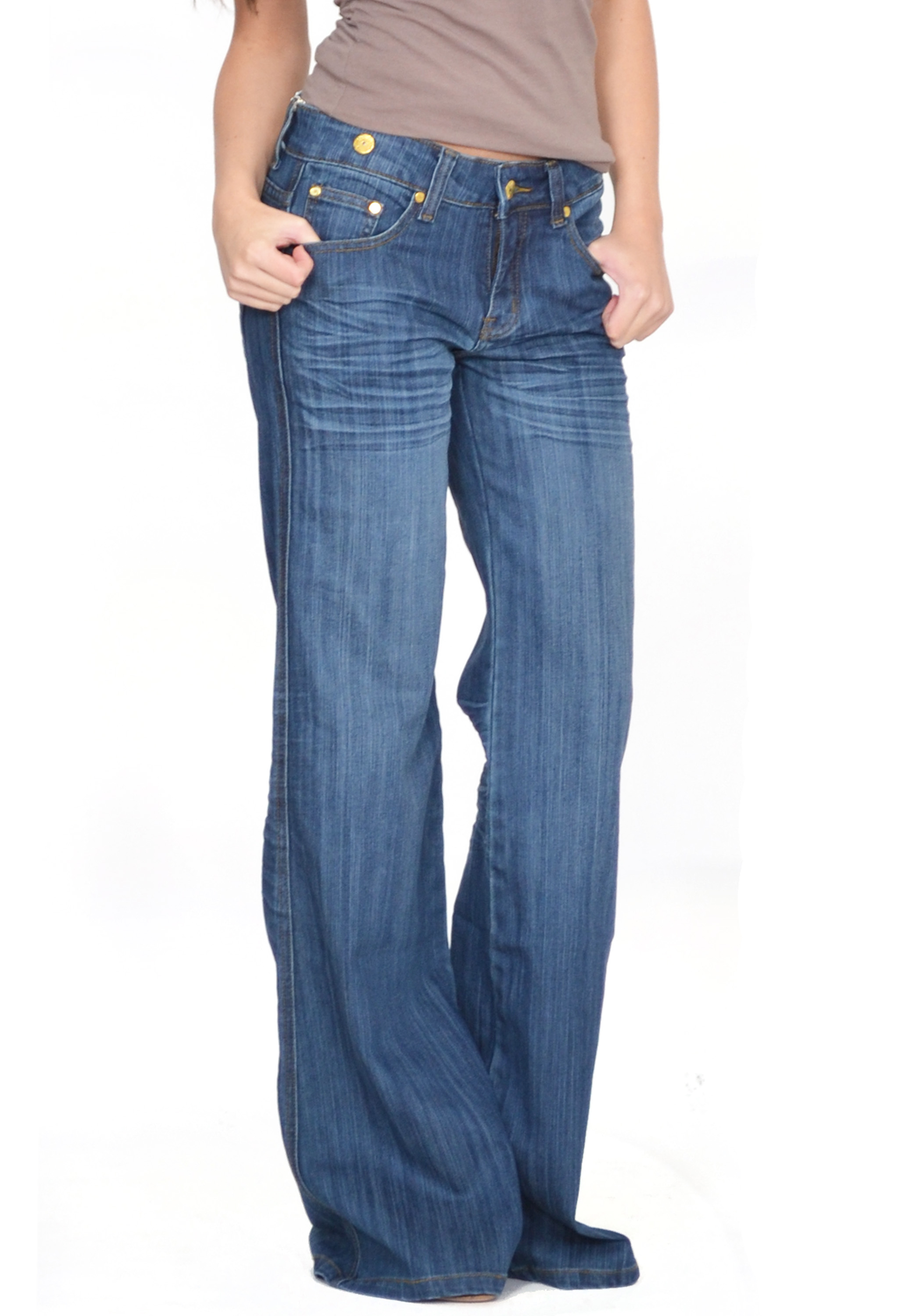 60s 70s Retro Dark Blue Faded Bell Bottoms Hippy Flares Wide ...
