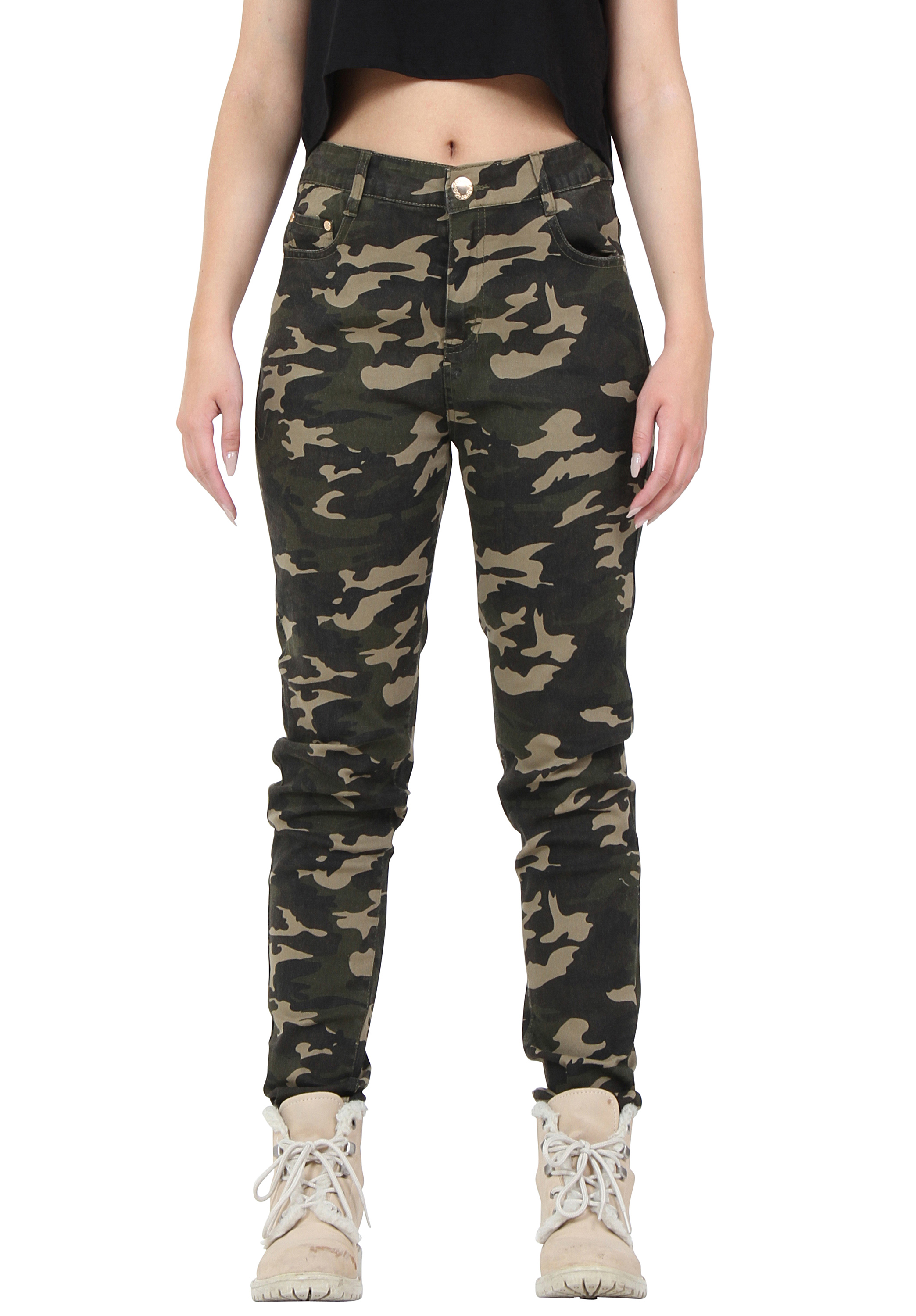 New Womens Dark Green Army Camouflage Slim Stretch Trousers Fitted ...
