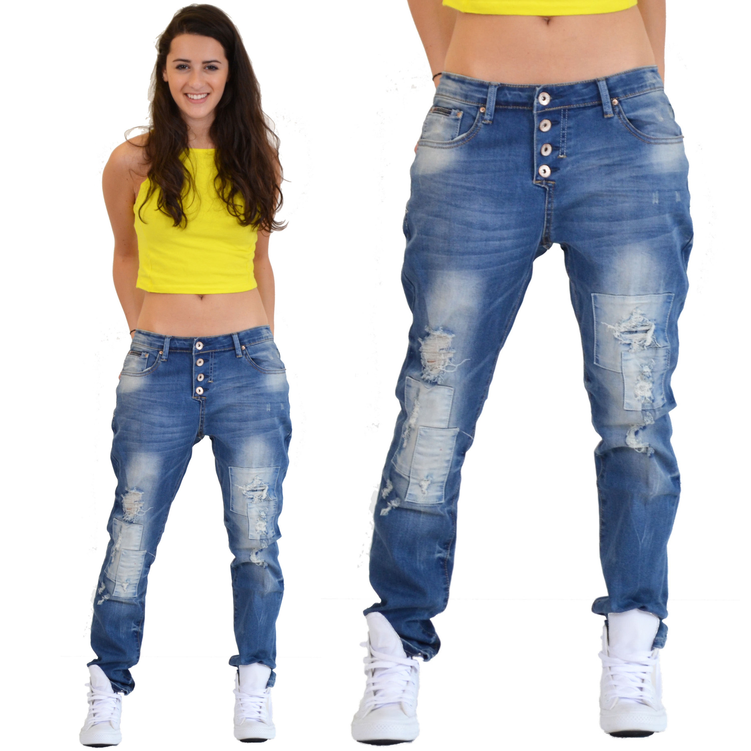 New Ladies Womens Blue Loose Distressed Faded Ripped Boyfriend ...