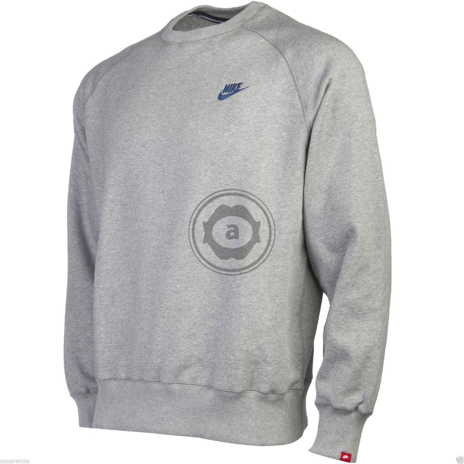 Mens Nike Fleece Lined Sweater Jumper Sweatshirt - Grey & Navy Blue