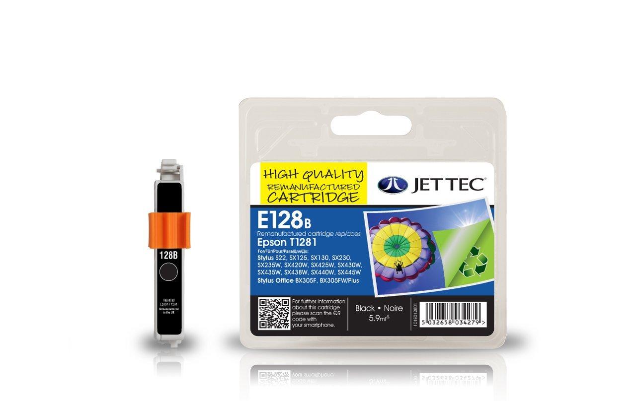 jettec e128b remanufactured black printer ink cartridge. Black Bedroom Furniture Sets. Home Design Ideas