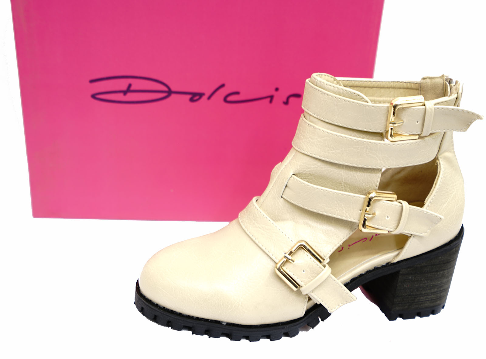 LADIES DOLCIS NUDE CHUNKY PLATFORM CLEATED BUCKLE ANKLE BOOTS SHOES SIZE 3-8