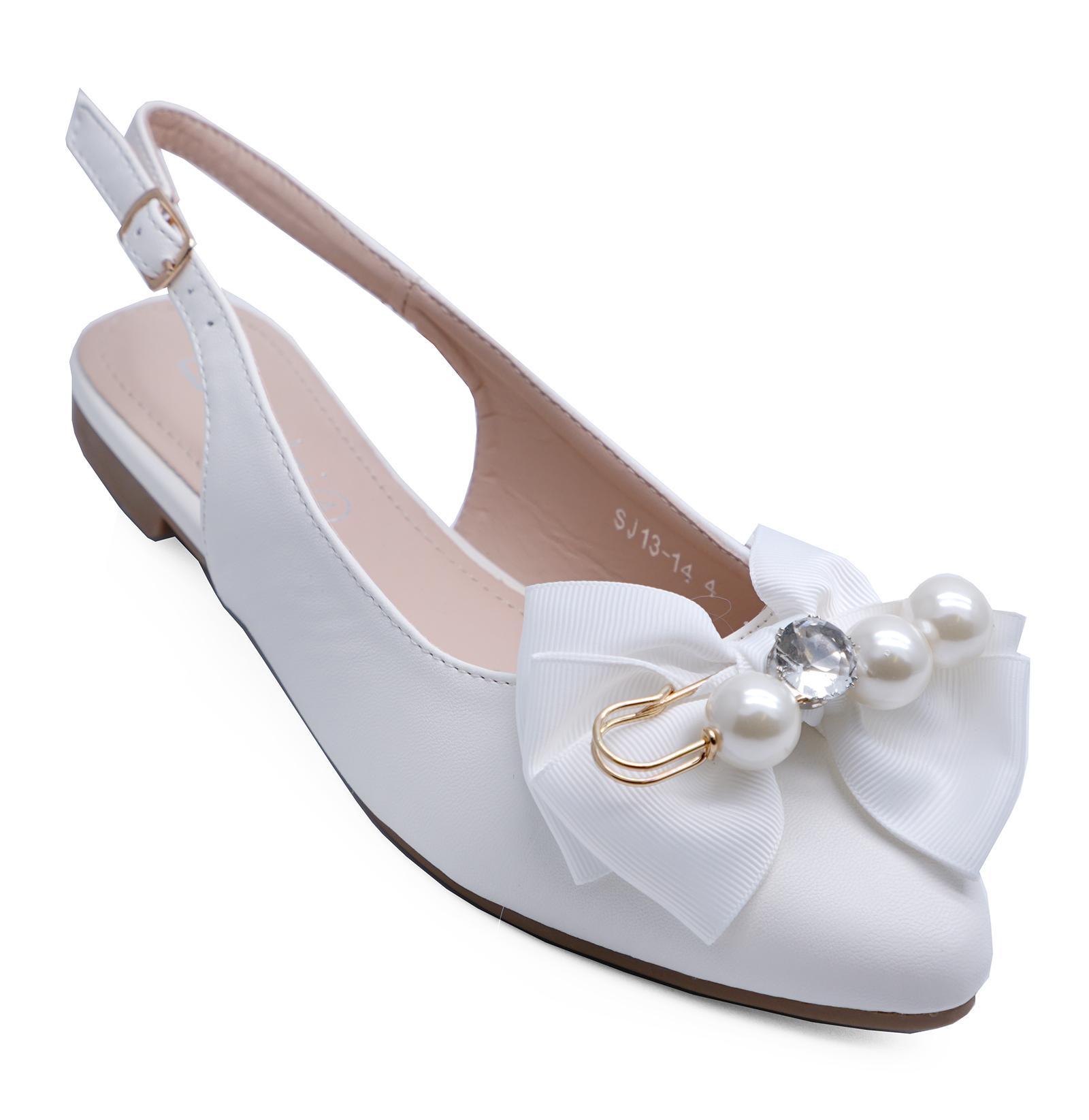 LADIES FLAT WHITE WEDDING BRIDAL BRIDESMAID BRIDE COMFY PRETTY SHOES SIZES 3-8