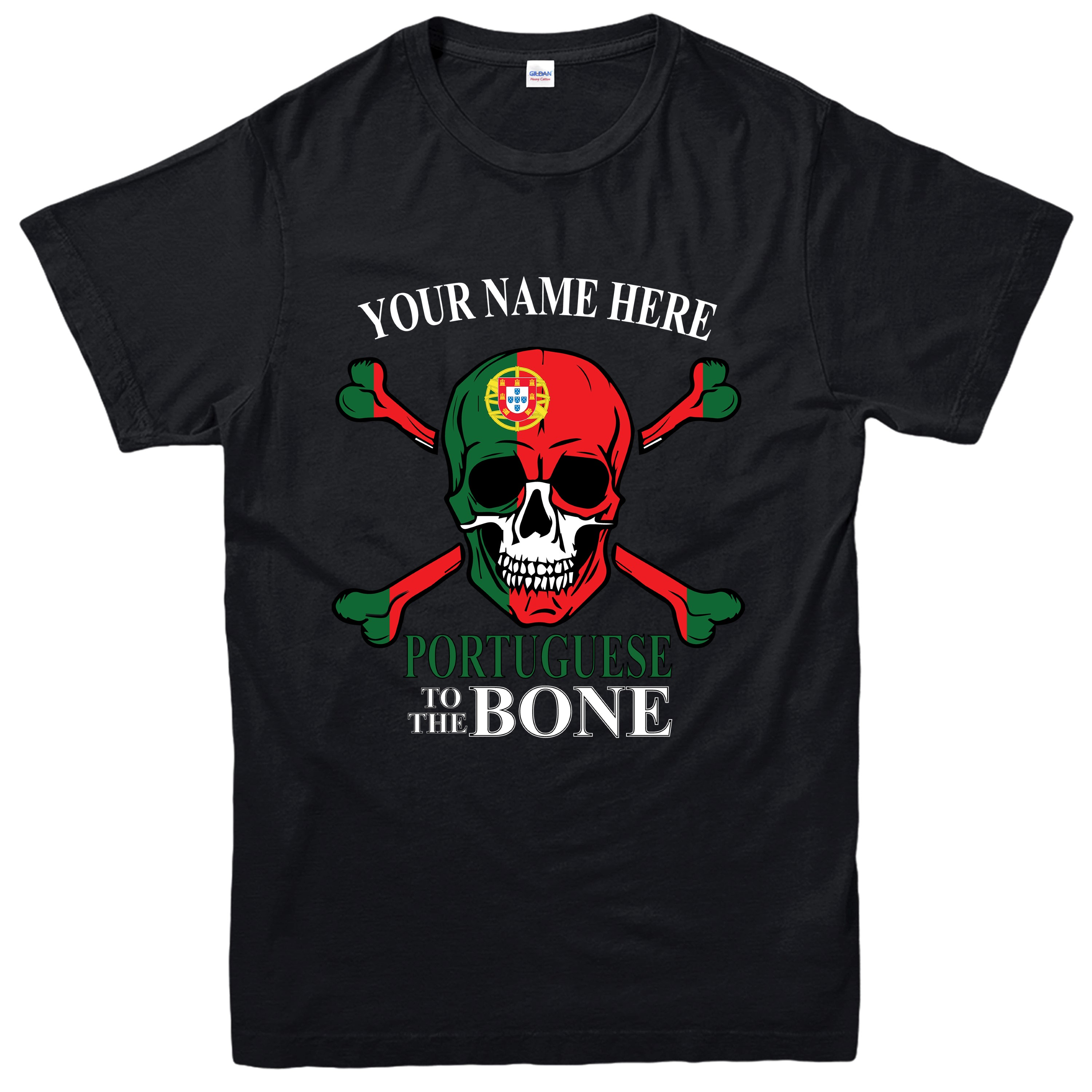 Personalised Portuguese To The Bone T-shirt Portugal Flag Skull Design Tee Top