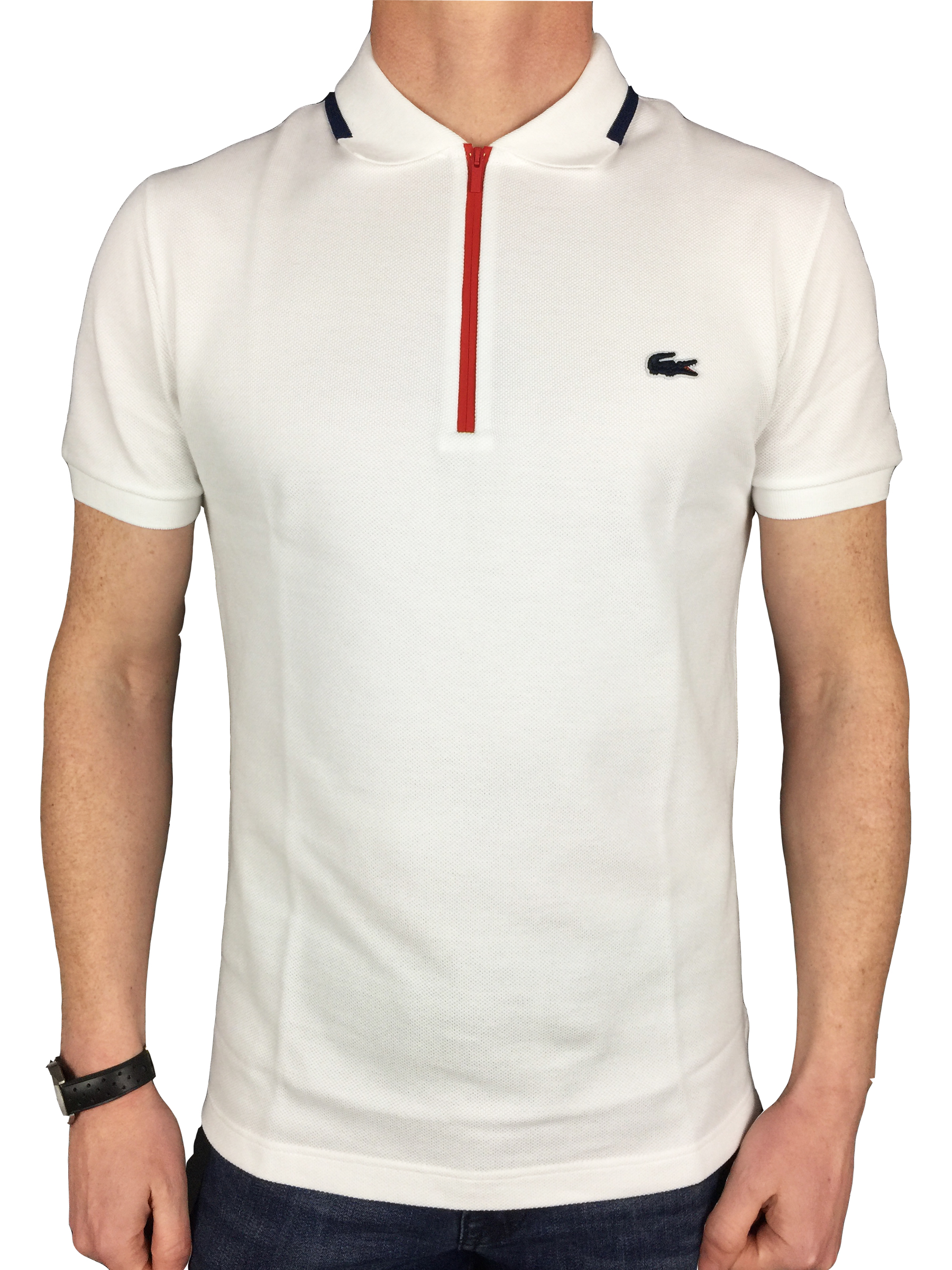 Lacoste mens s s 3 4 zip collar tip polo shirt in white ebay for Lacoste size 4 polo shirt