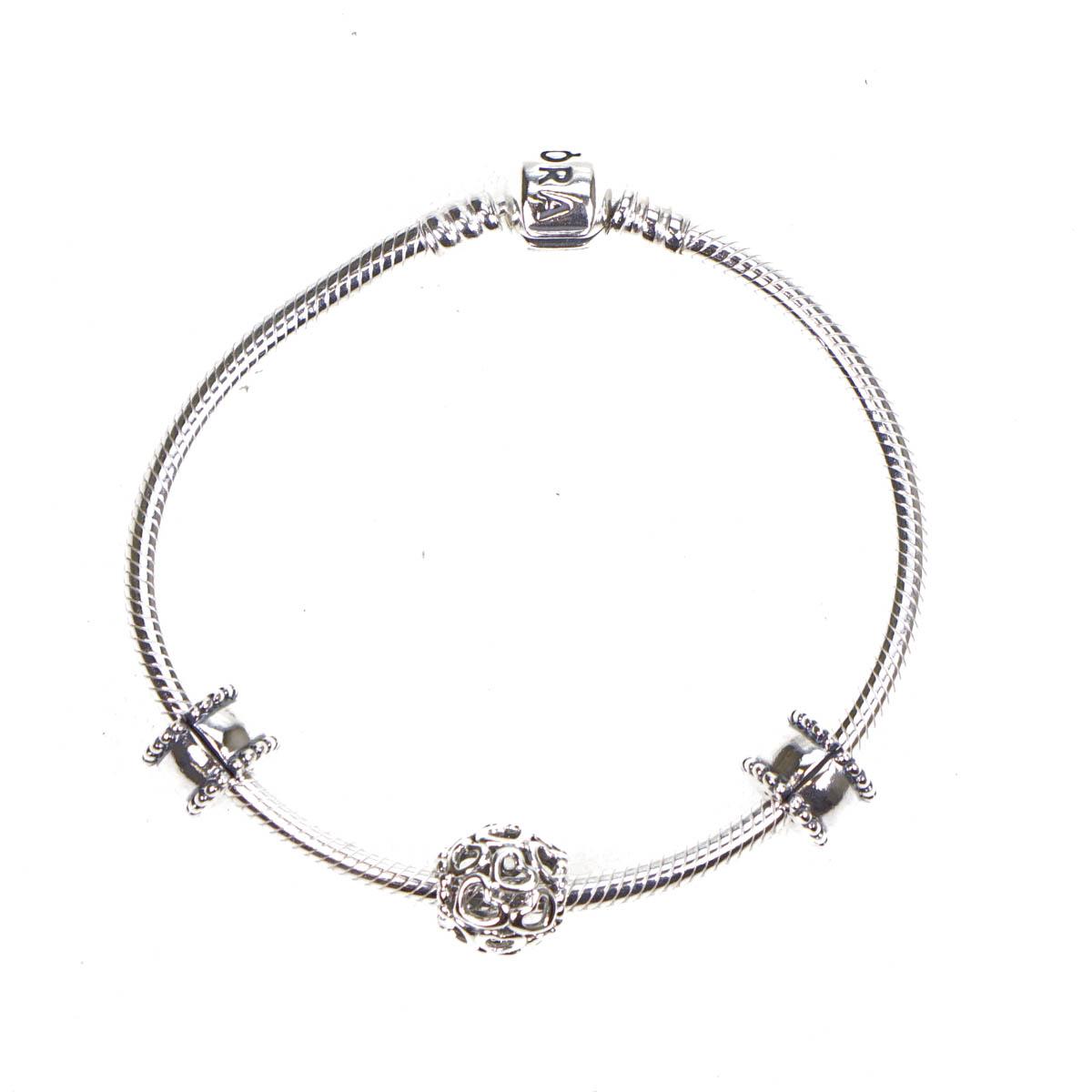 pandora sterling silver starter charm bracelet openwork. Black Bedroom Furniture Sets. Home Design Ideas