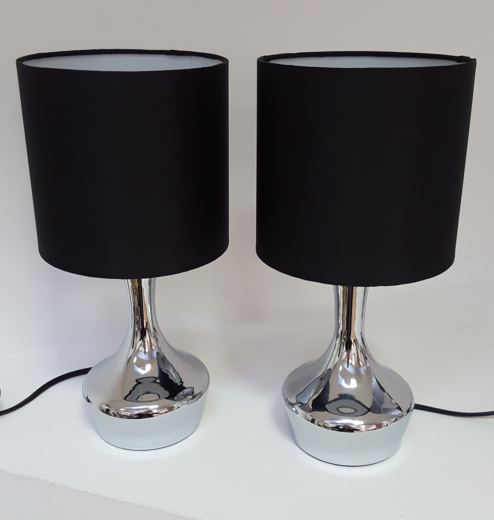 Kliving Gotham Pair Of Chrome Touch Bedside Table Lamps Black Drum Fabric Shades Ebay