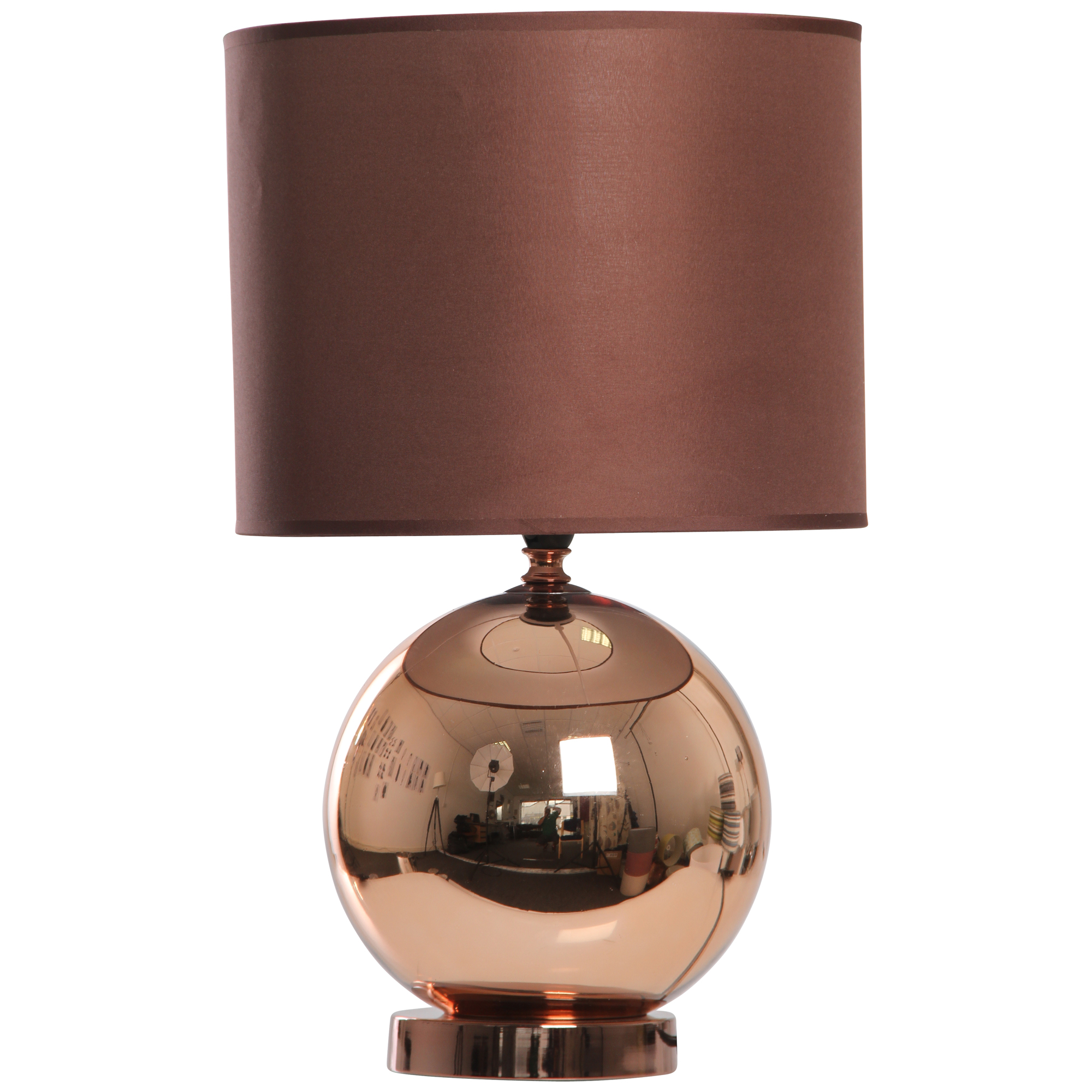 KLIVING OSTEND COPPER TABLE LAMP WITH MATCHING CHOCOLATE