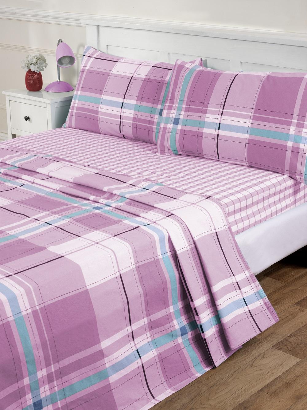 atlanta flannelette pink sheets set fitted flat pillowcase. Black Bedroom Furniture Sets. Home Design Ideas