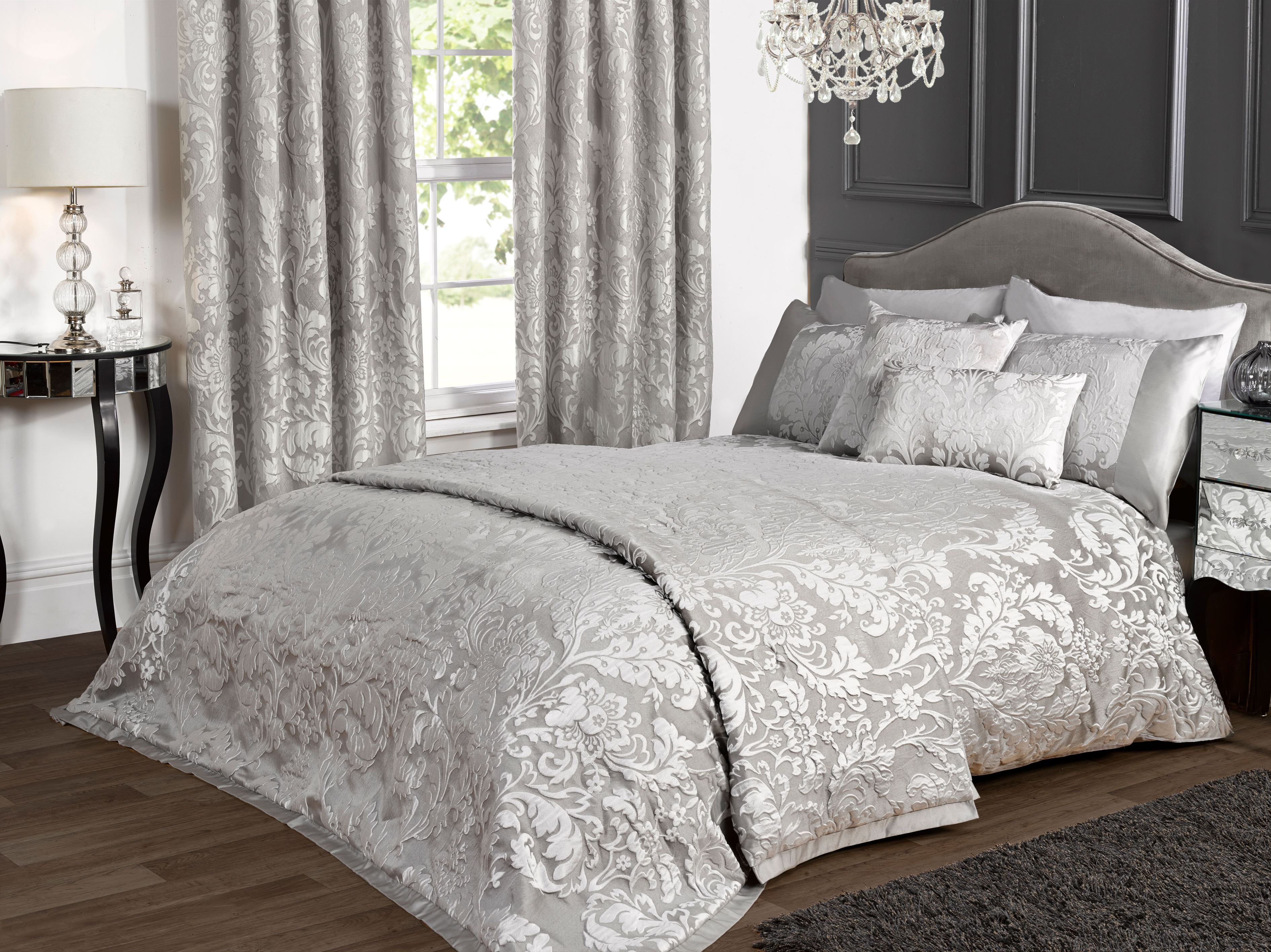 kliving luxury charleston grey jacquard embossted bedding set  - kliving luxury charleston grey jacquard embossted bedding set modern bedroom