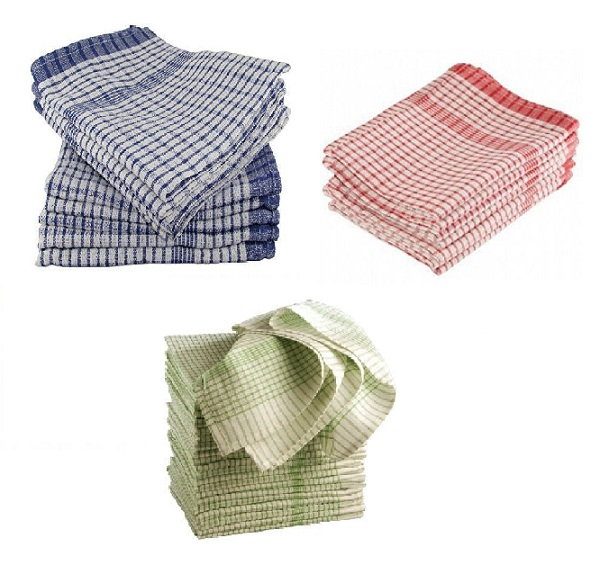 Wonderdry Checked Tea Towels Pack Of 10 Colours Available
