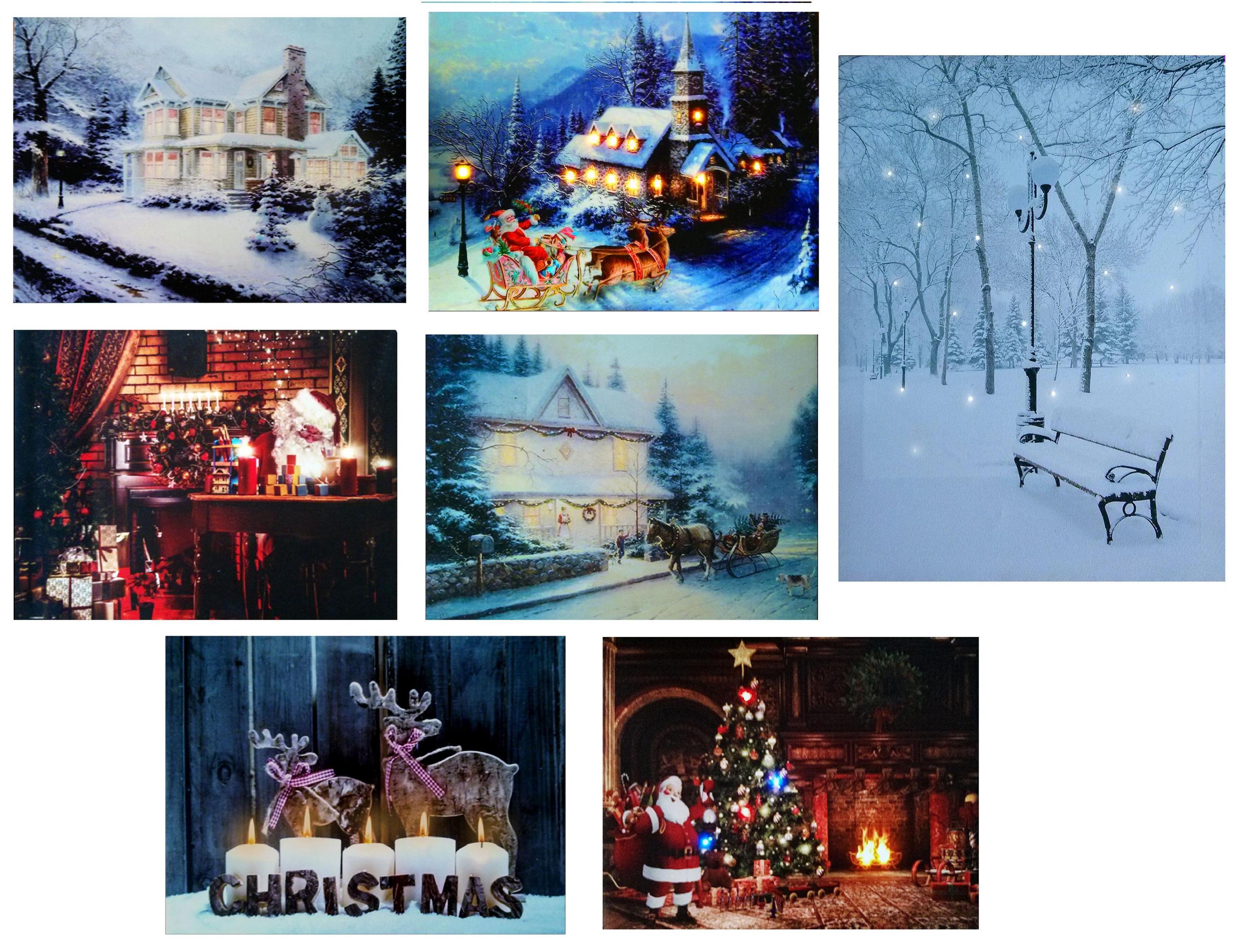 led light up christmas canvas pictures 30cm x 40cm xmas picture. Black Bedroom Furniture Sets. Home Design Ideas