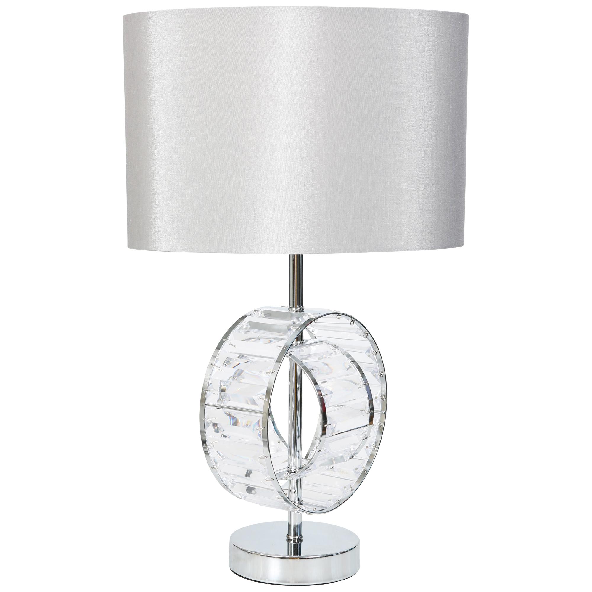 Kliving Brompton Chrome Acrylic Modern Table Lamp With