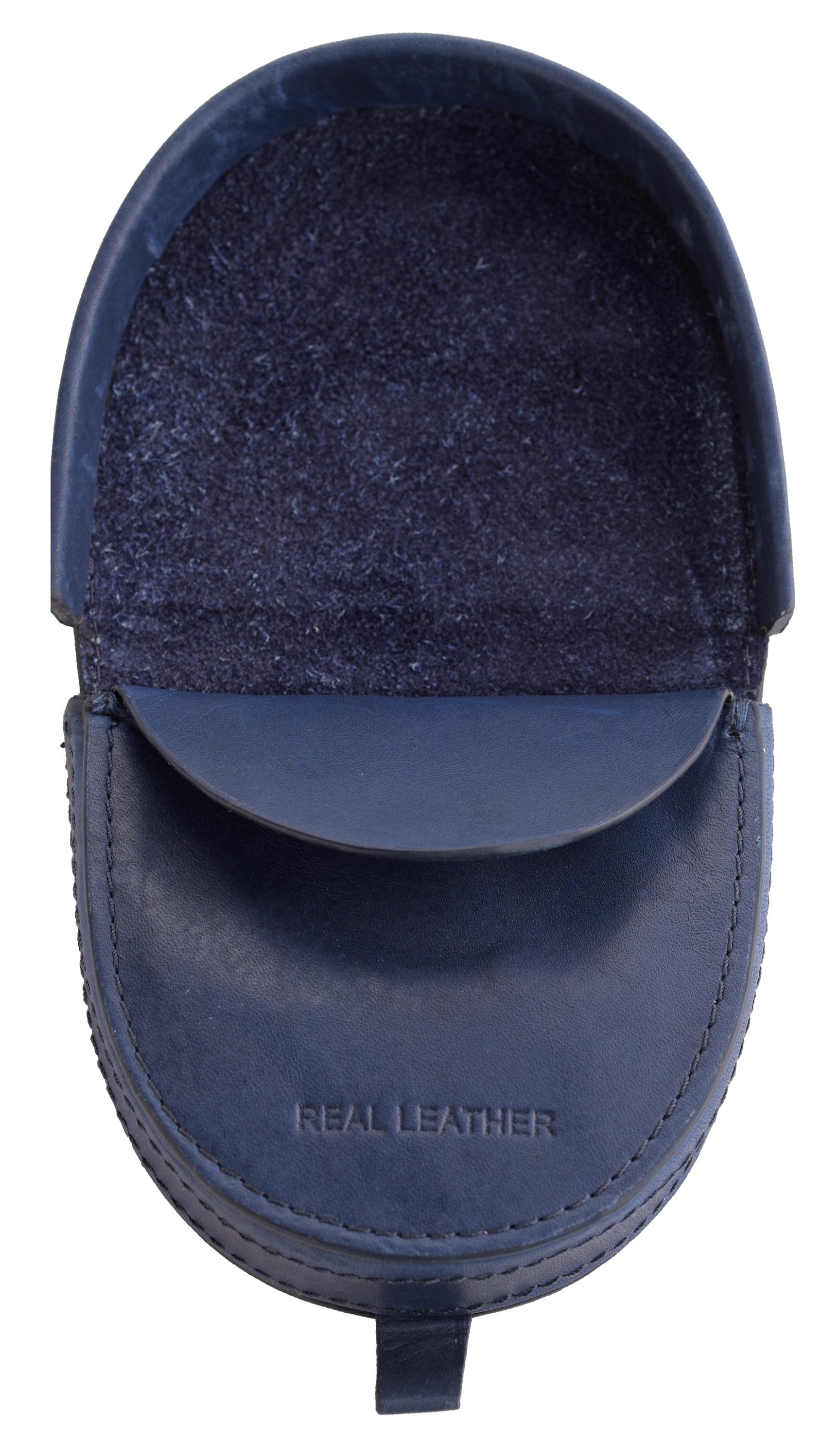 Homme Premium Grade bord arrondi en cuir plateau porte-monnaie Note Section Bleu Noir