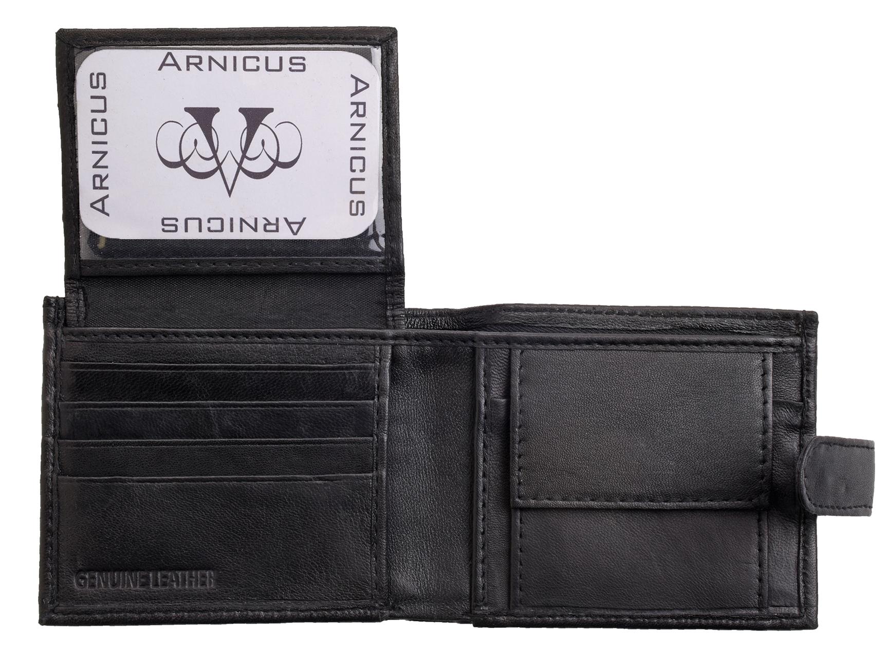 Arnicus Mens Gents Soft Genuine Leather Flip Up Wallet RFID Blocking