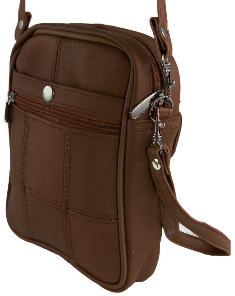 Genuine Leather Zipped Bag for Travelling with Wrist Strap Multi Purpose