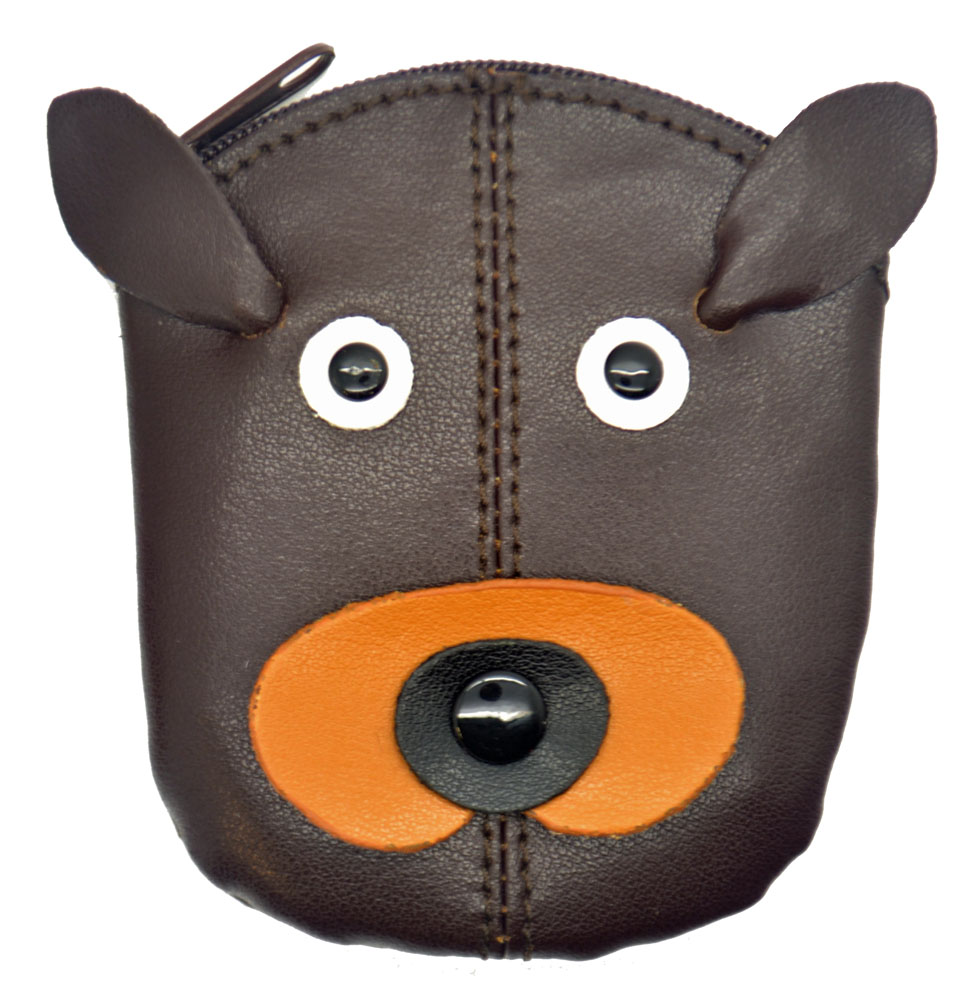Childs Kids Genuine Real Leather Animal Zip Top Coin Purse Black Red Tan Brown