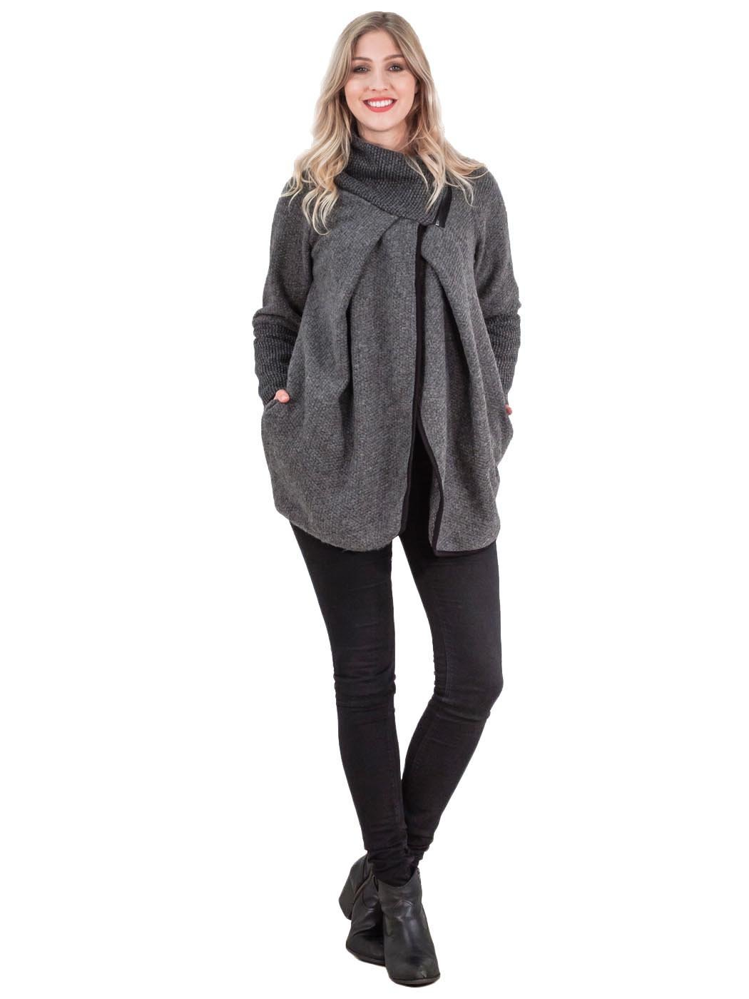 Womens ITalian Zip Lagenlook Knitted Jacket Wool Winter Poncho Coat Collared Zi