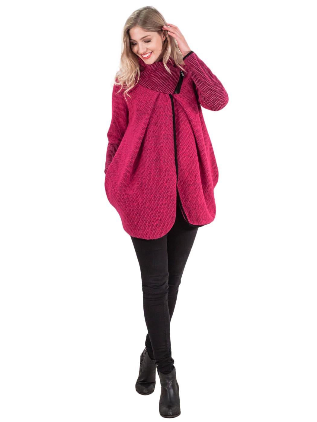 Da Donna Italiana ZIP Lagenlook Lana Inverno a Maglia Giacche Cappotto A Collo Alto Poncho