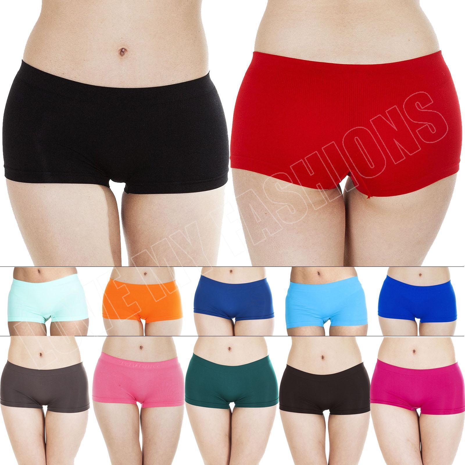 New Womens Knickers Plain Panties Pants Ladies Underwear Boxer ...