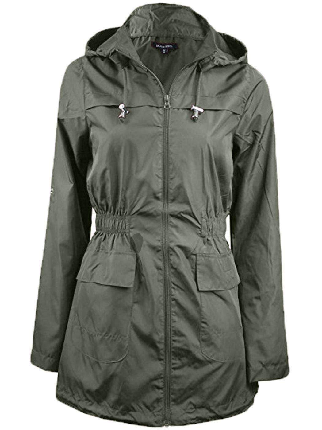 Womens Fishtail PARKA Hooded FESTIVAL Raincoat Jacket Plus Size RAIN COAT L  8 24 - Womens Fishtail PARKA Hooded FESTIVAL Raincoat Jacket Plus Size