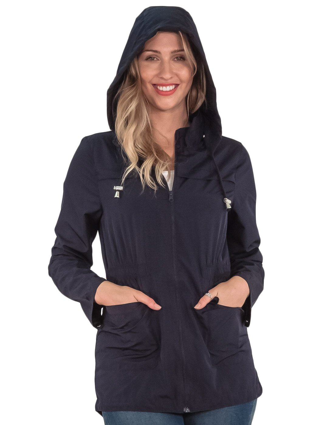 Womens RainCoat Plain Hooded Ladies Jacket Kagool Parka Long Sleeves Two Pockets