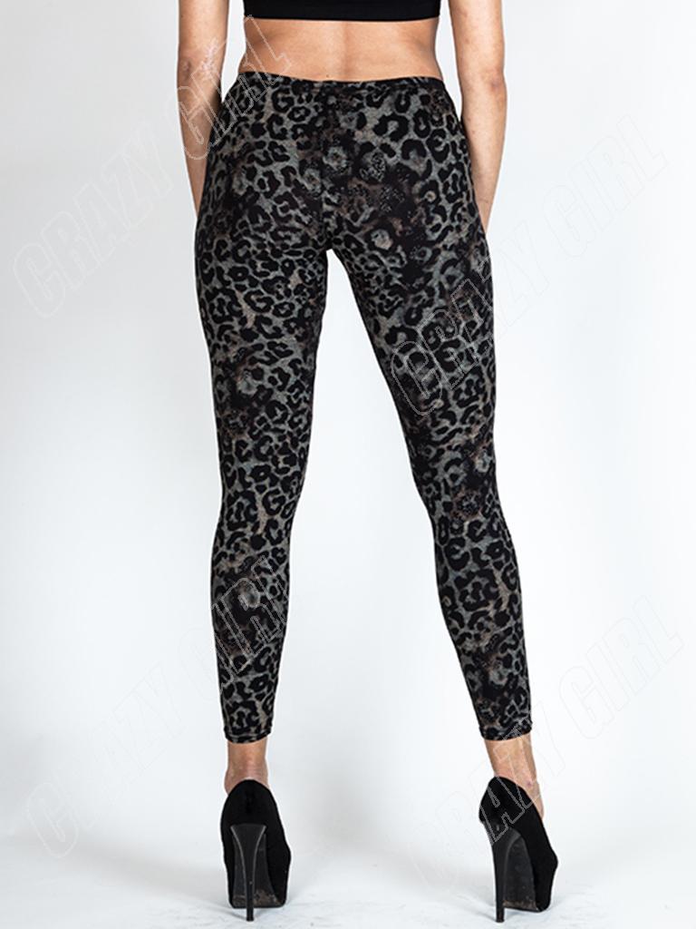 New Womens Ladies BLACK LEOPARD Animal Print LEGGINGS PLUS Size 8 ...
