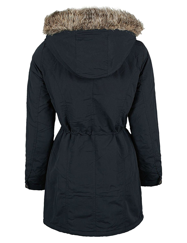 Ladies Cotton Parka Fur Trim Hooded Long Sleeve Winter Hooded Jacket Size 8 24