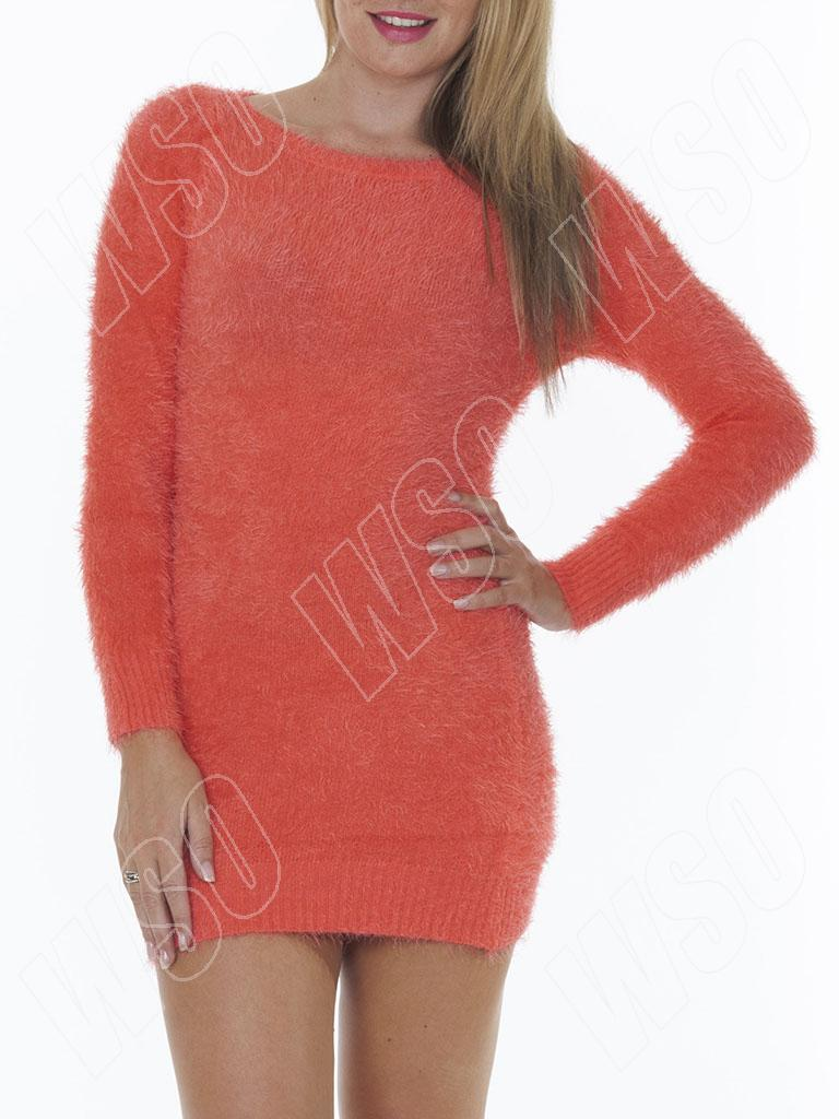 new ladies womens winter fluffy furry boat neck jumper dress size