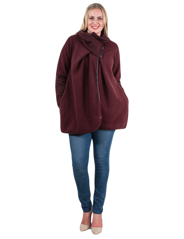 Womens Italian Lagenlook chunky knit cocoon Coatigan Jacket Buttons Funnel Neck