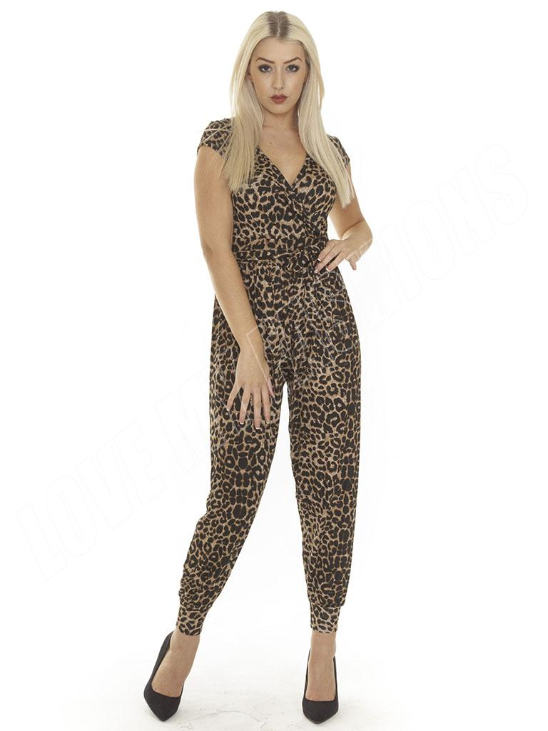 New Ladies Womens Animal Leopard Print All In One Jumpsuit Playsuit Size S M L 8 | EBay